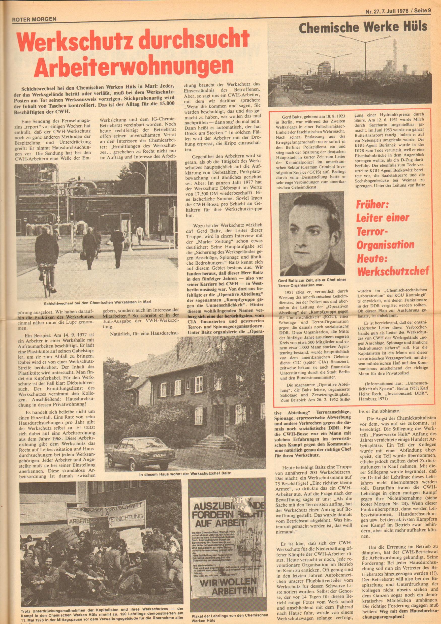 Roter Morgen, 12. Jg., 7. Juli 1978, Nr. 27, Seite 9