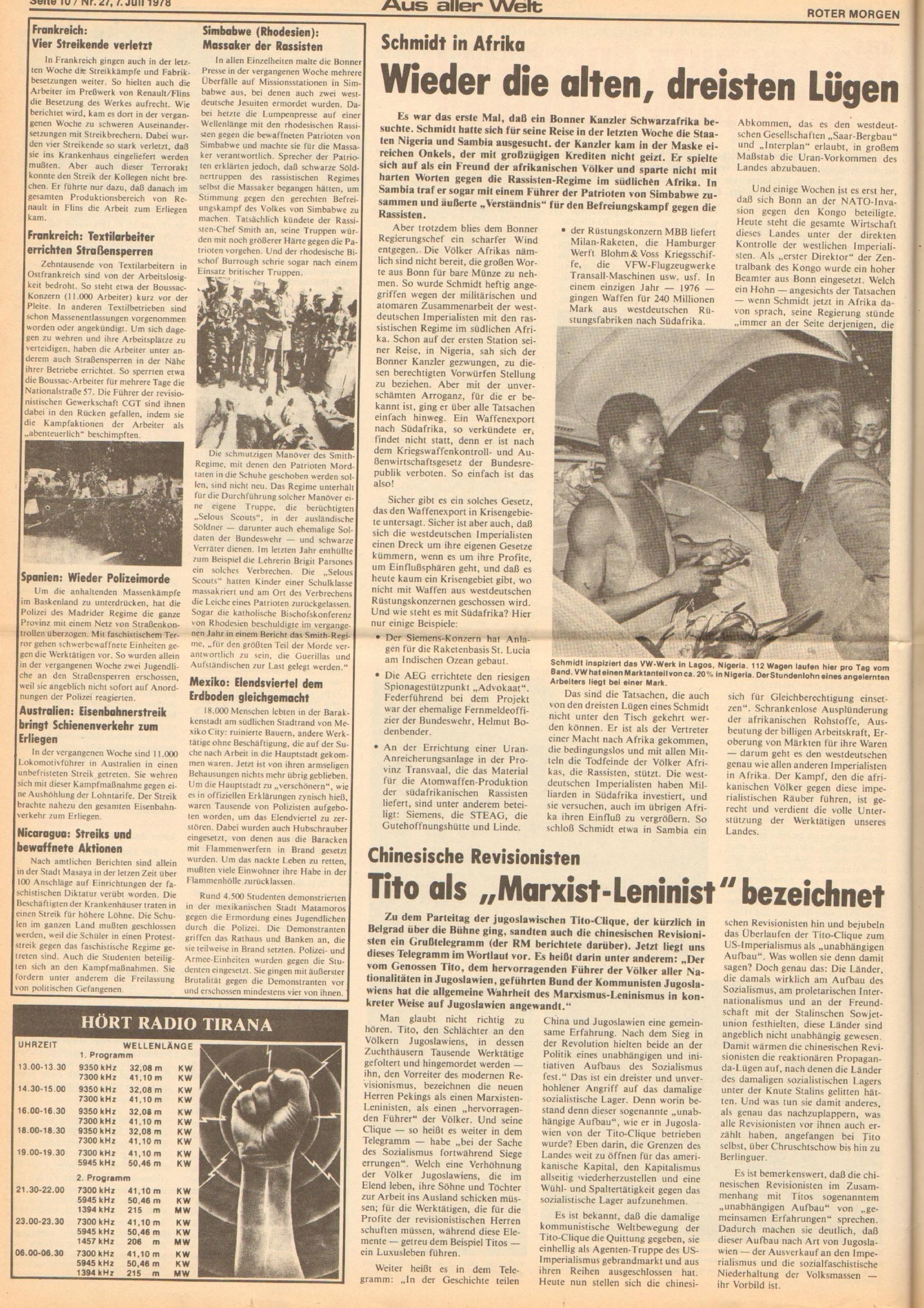 Roter Morgen, 12. Jg., 7. Juli 1978, Nr. 27, Seite 10
