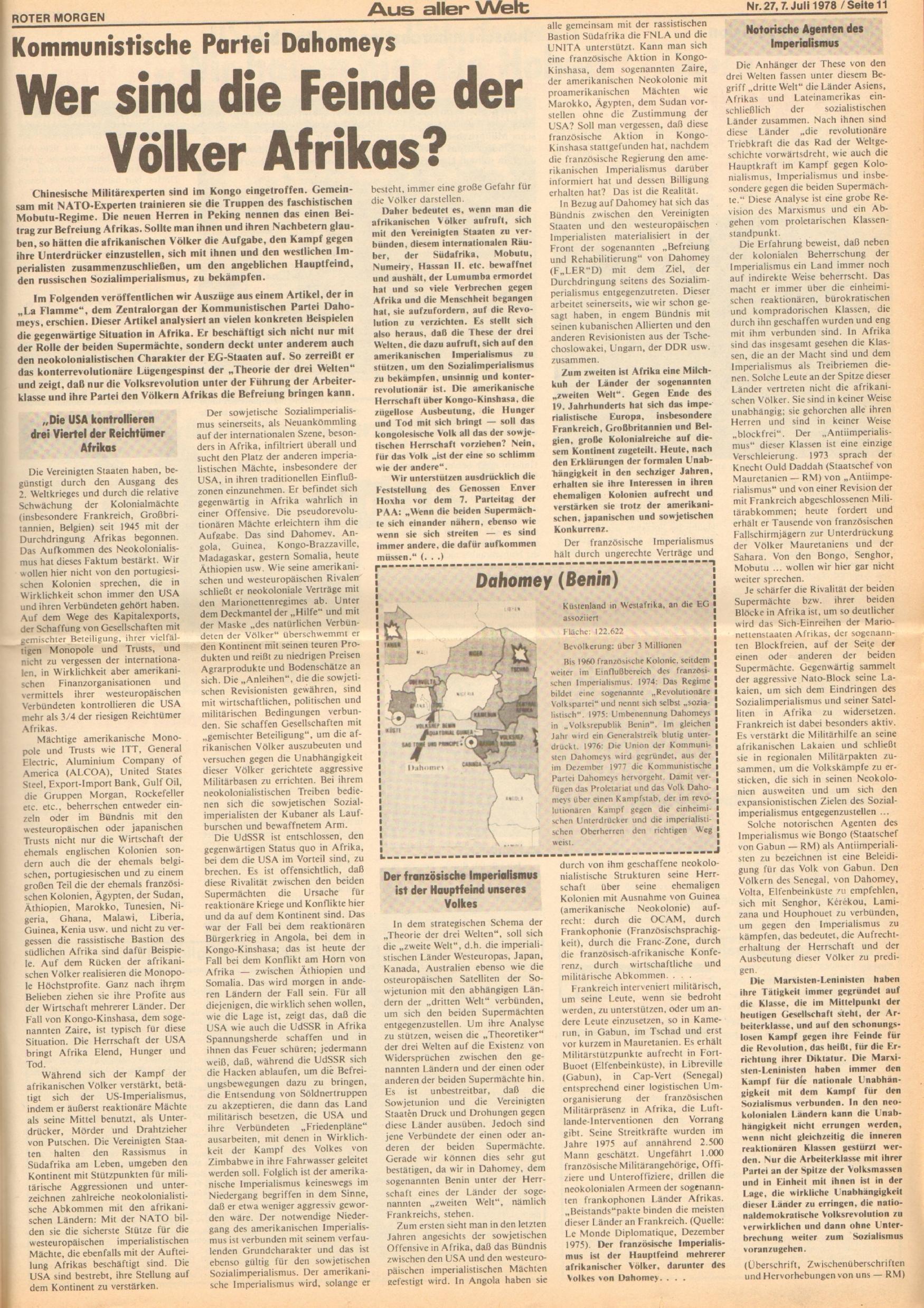 Roter Morgen, 12. Jg., 7. Juli 1978, Nr. 27, Seite 11