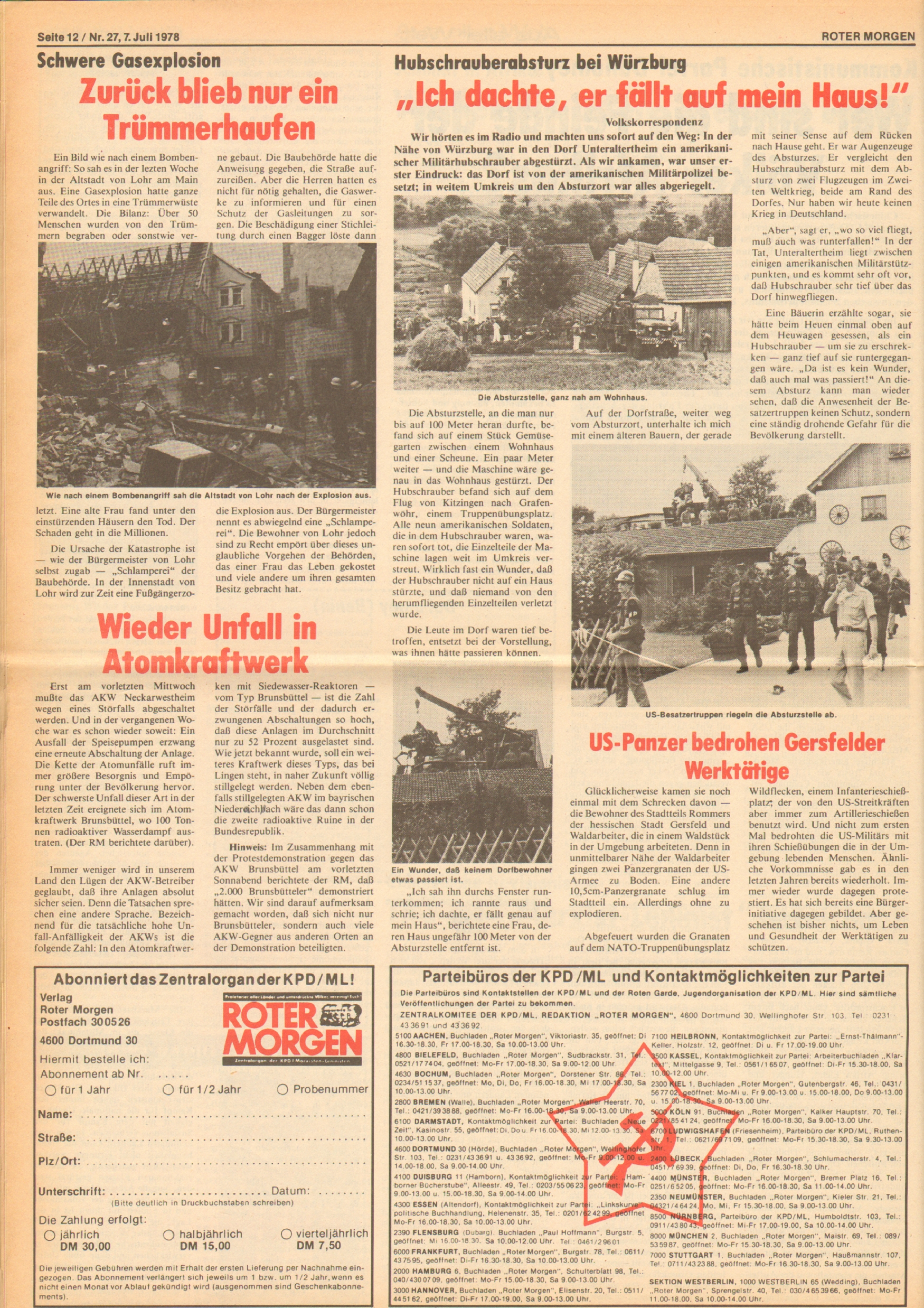 Roter Morgen, 12. Jg., 7. Juli 1978, Nr. 27, Seite 12