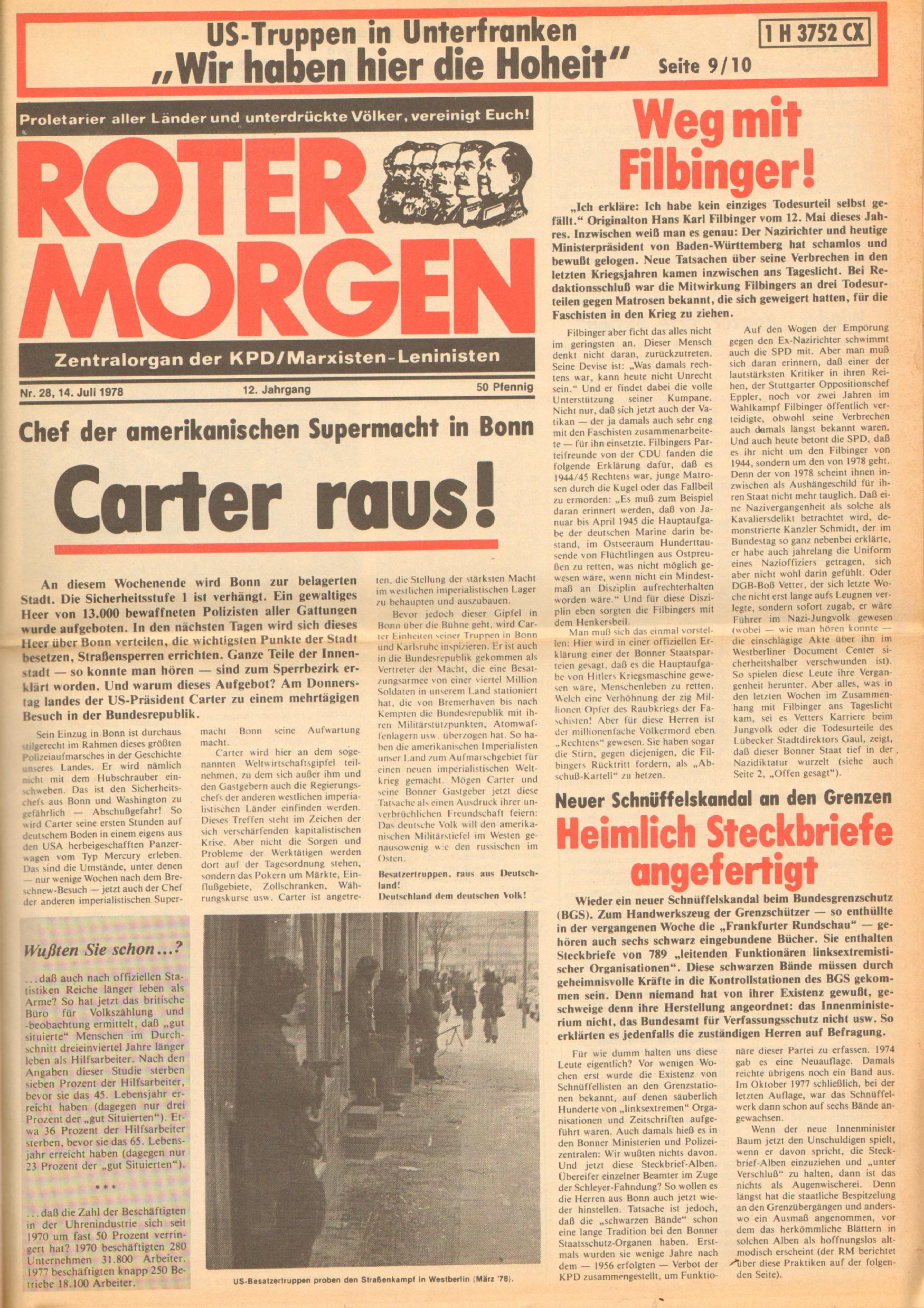 Roter Morgen, 12. Jg., 16. Juli 1978, Nr. 28, Seite 1