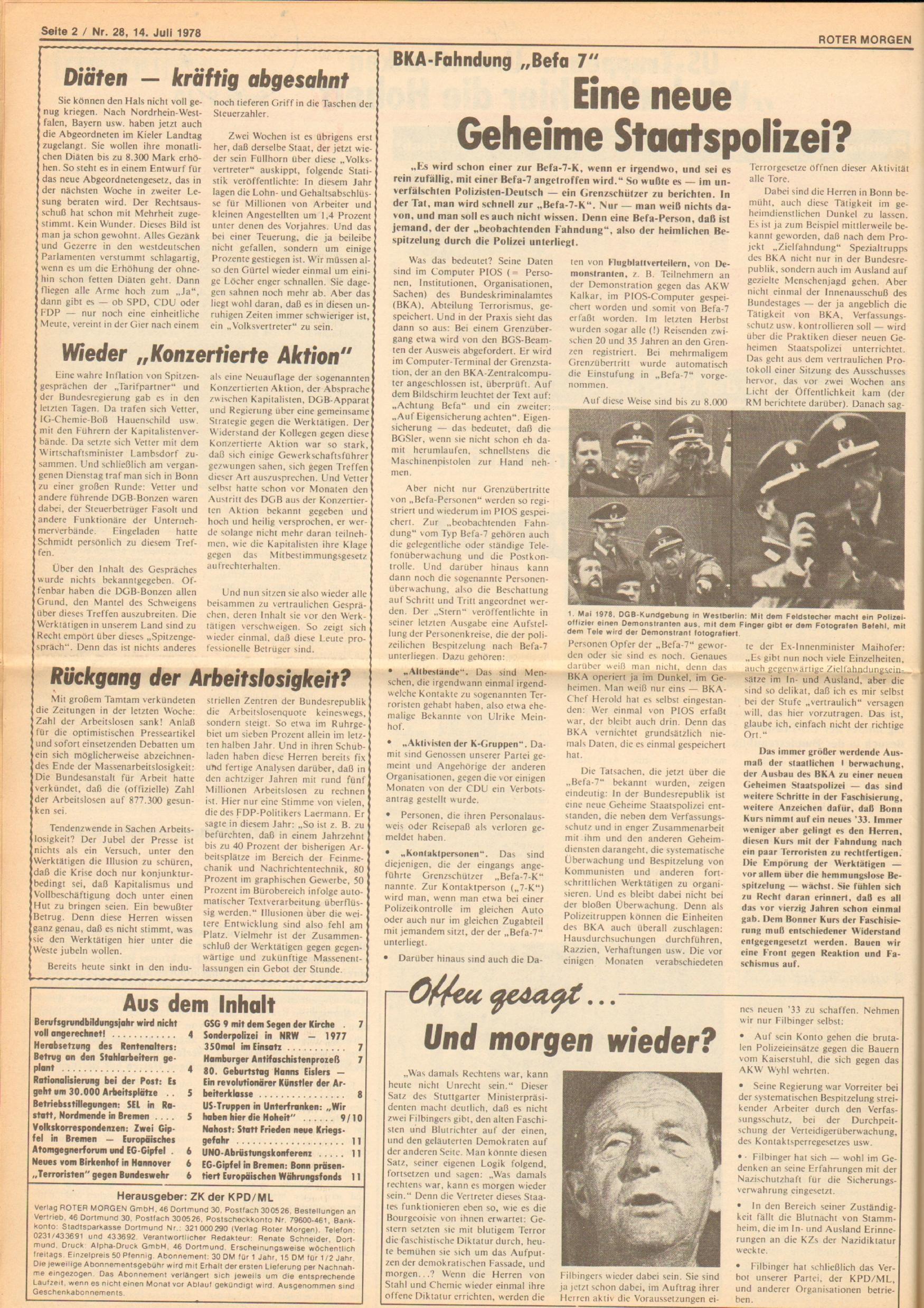 Roter Morgen, 12. Jg., 16. Juli 1978, Nr. 28, Seite 2