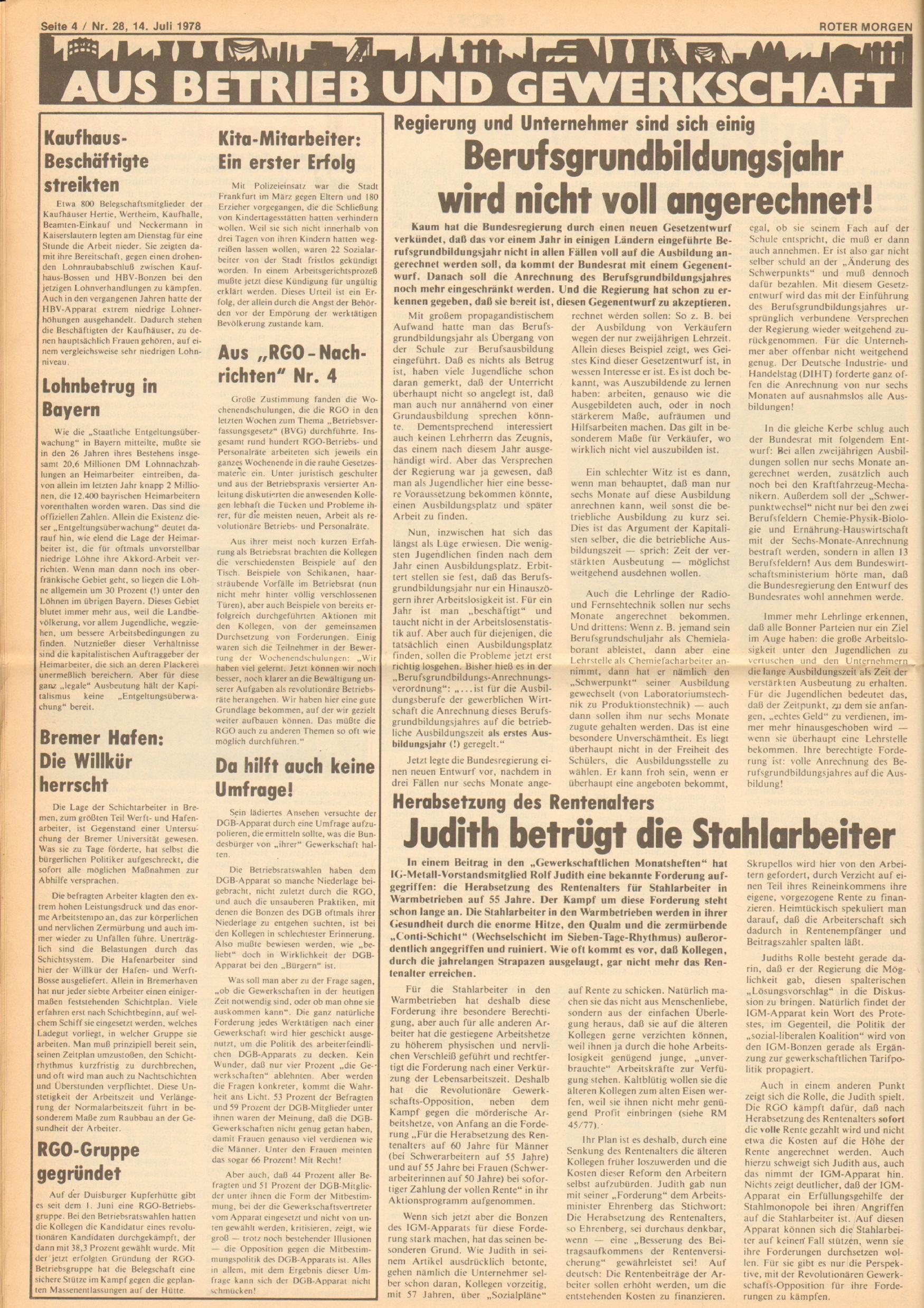 Roter Morgen, 12. Jg., 16. Juli 1978, Nr. 28, Seite 4