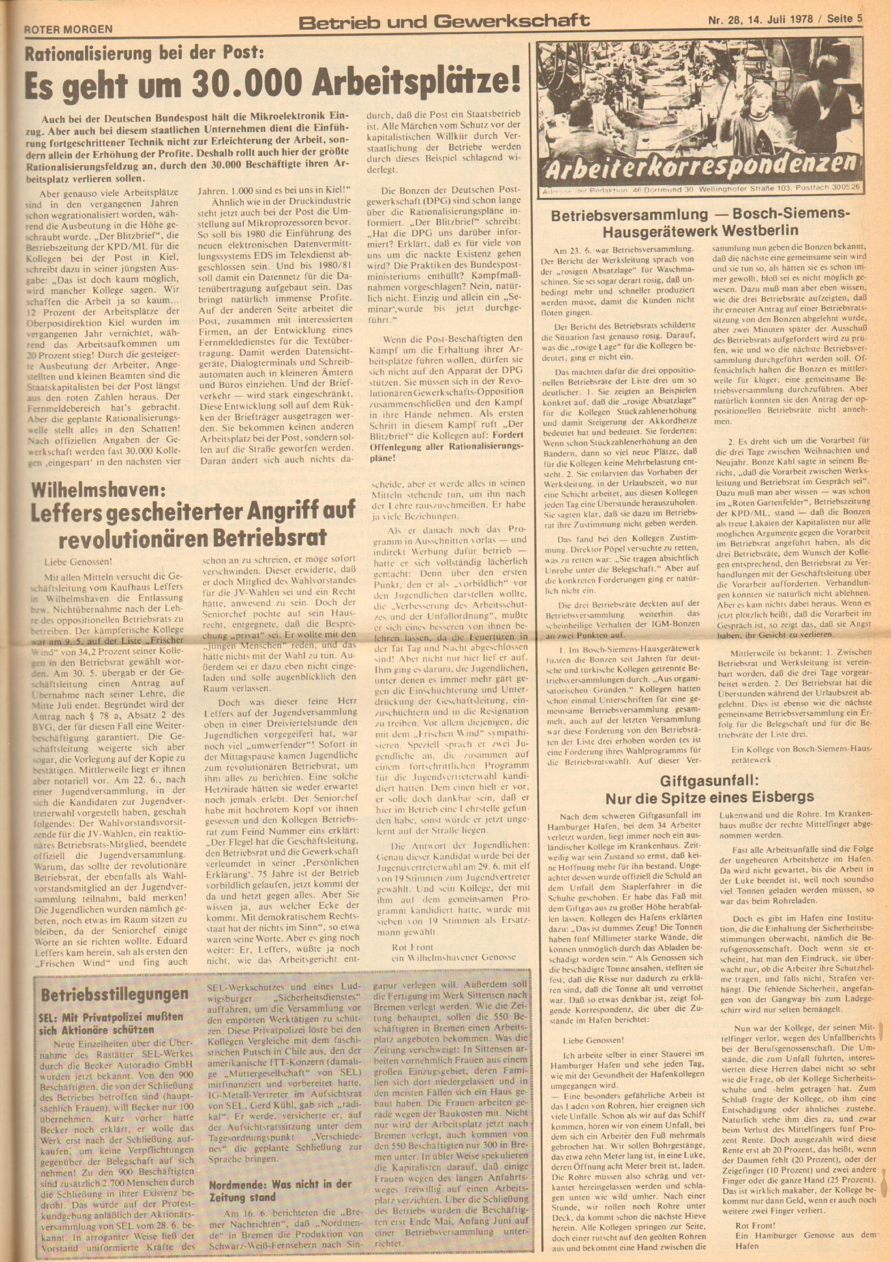 Roter Morgen, 12. Jg., 16. Juli 1978, Nr. 28, Seite 5