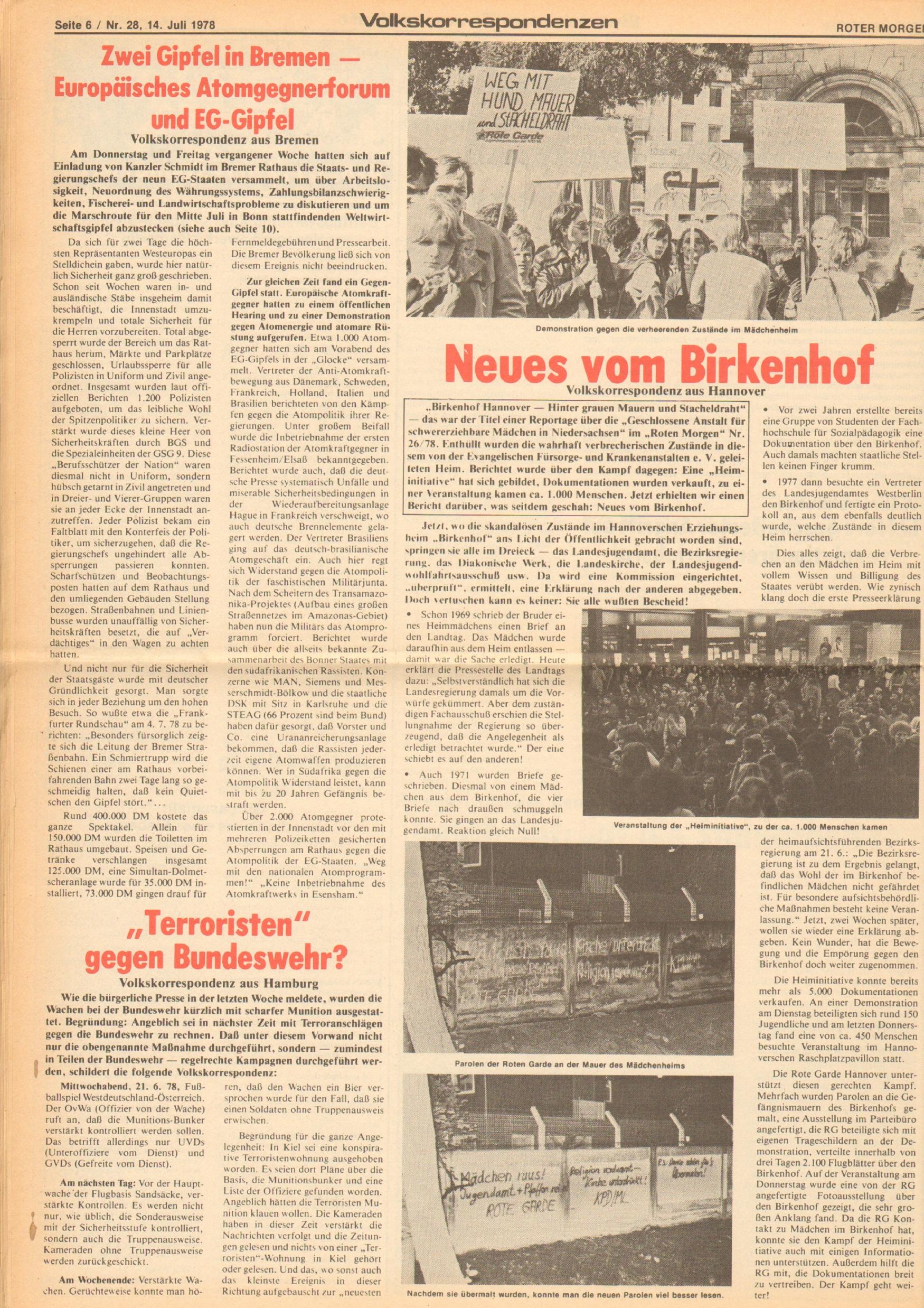 Roter Morgen, 12. Jg., 16. Juli 1978, Nr. 28, Seite 6