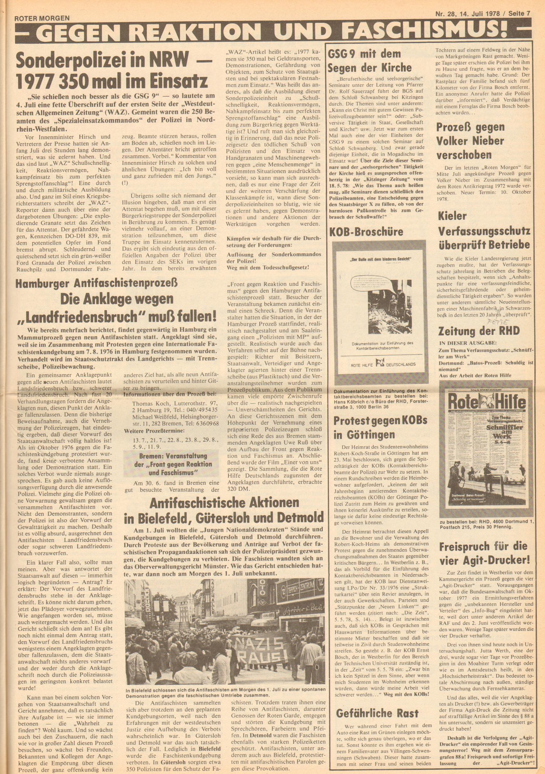 Roter Morgen, 12. Jg., 16. Juli 1978, Nr. 28, Seite 7