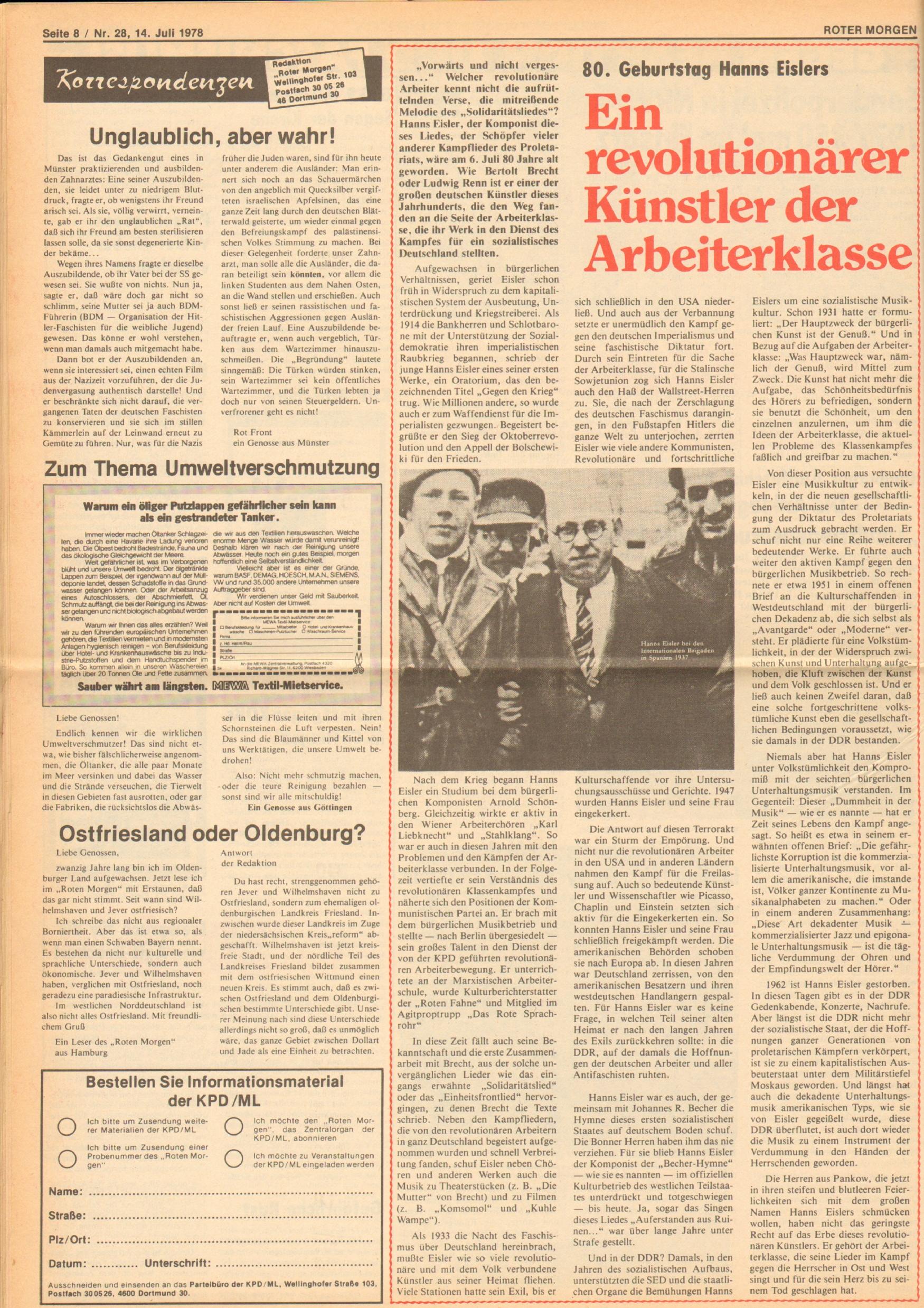 Roter Morgen, 12. Jg., 16. Juli 1978, Nr. 28, Seite 8