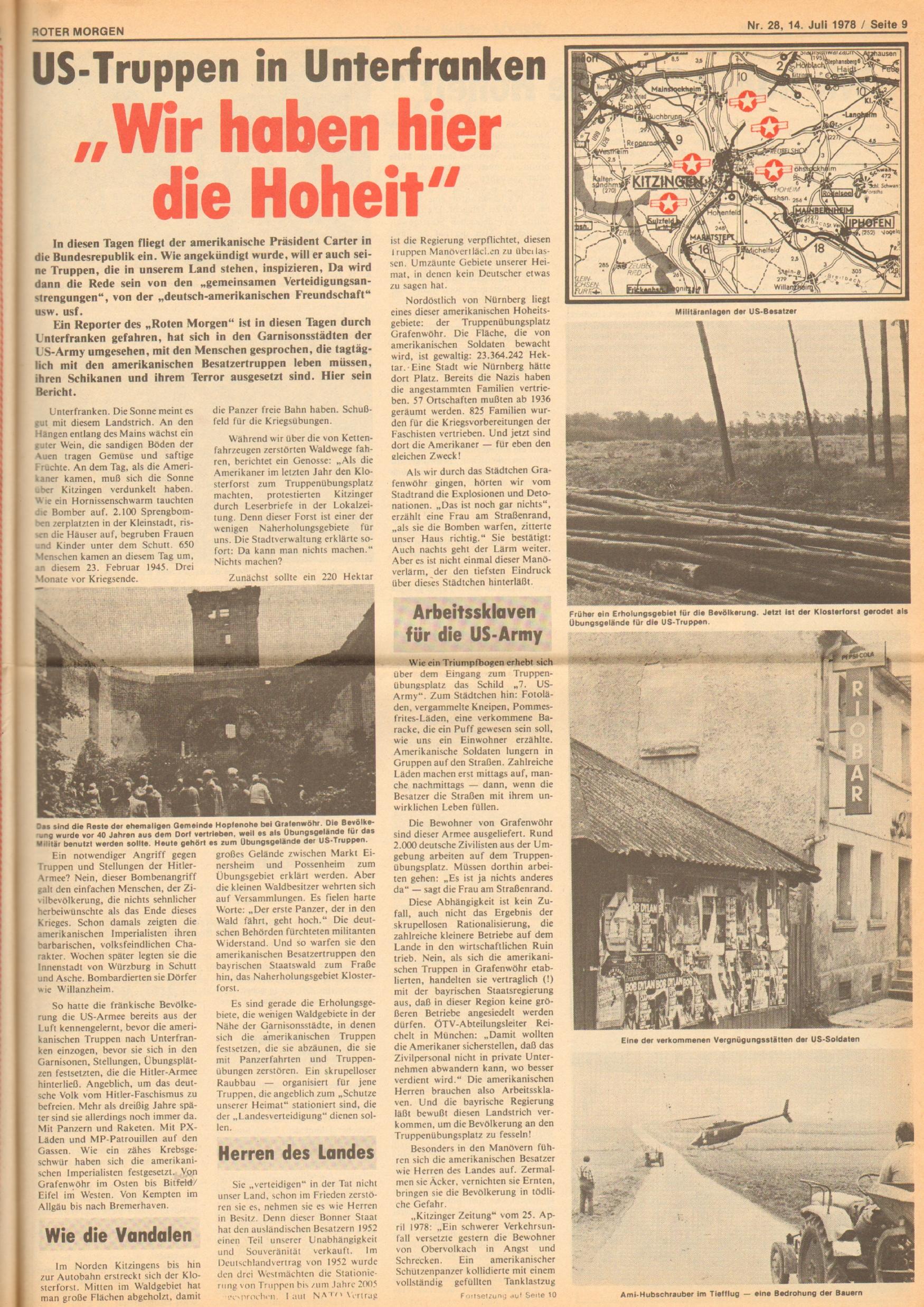 Roter Morgen, 12. Jg., 16. Juli 1978, Nr. 28, Seite 9