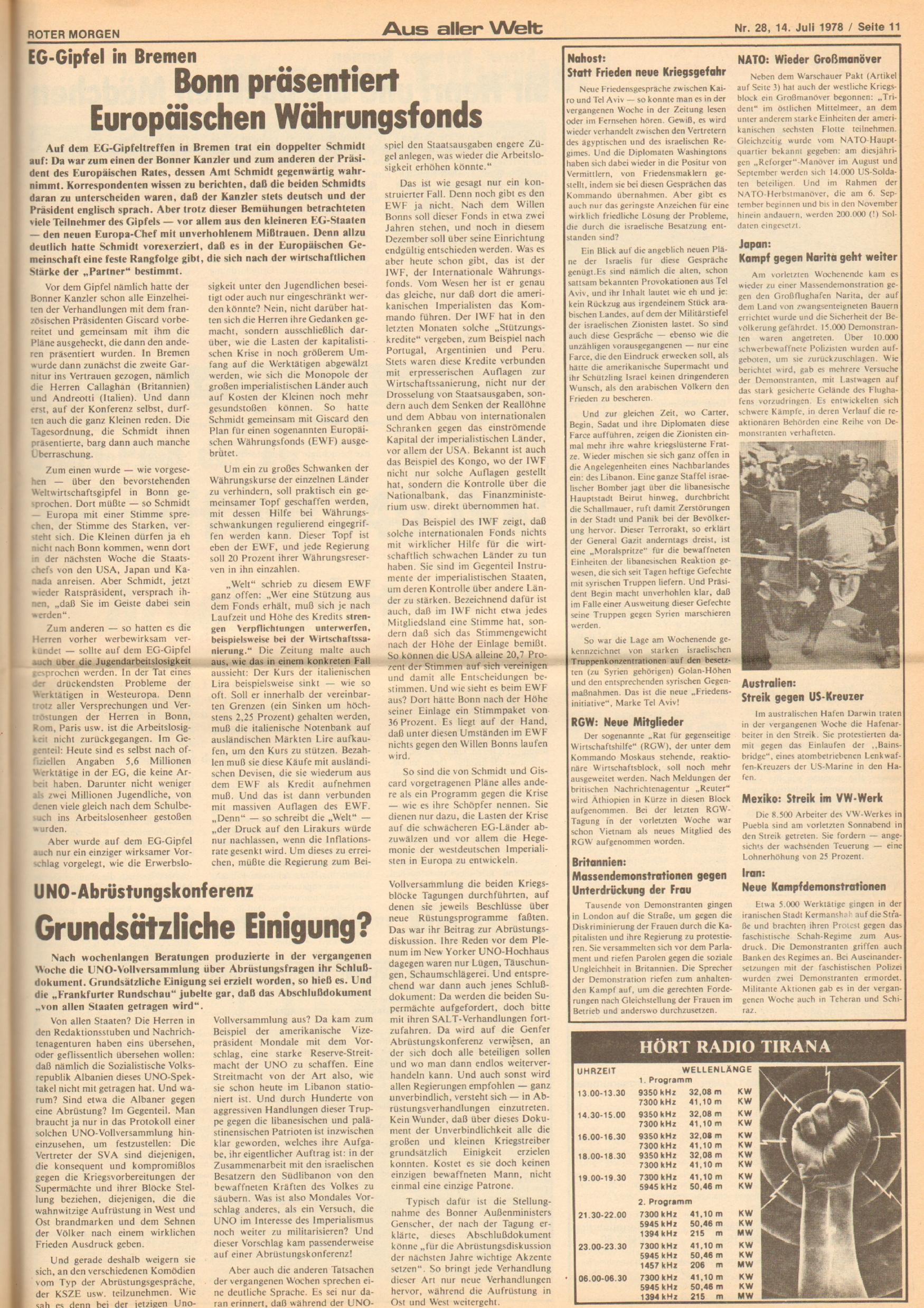 Roter Morgen, 12. Jg., 16. Juli 1978, Nr. 28, Seite 11