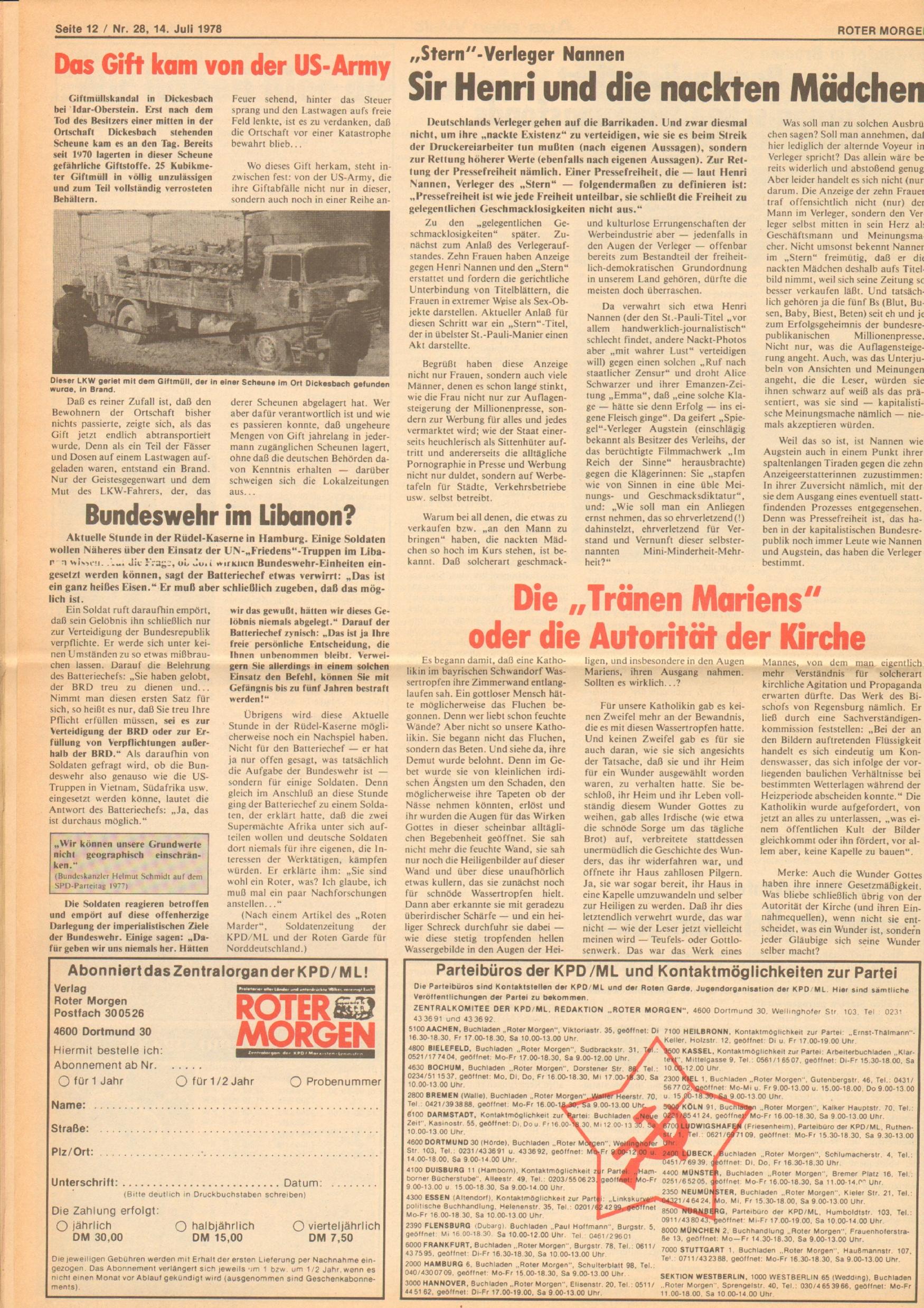 Roter Morgen, 12. Jg., 16. Juli 1978, Nr. 28, Seite 12