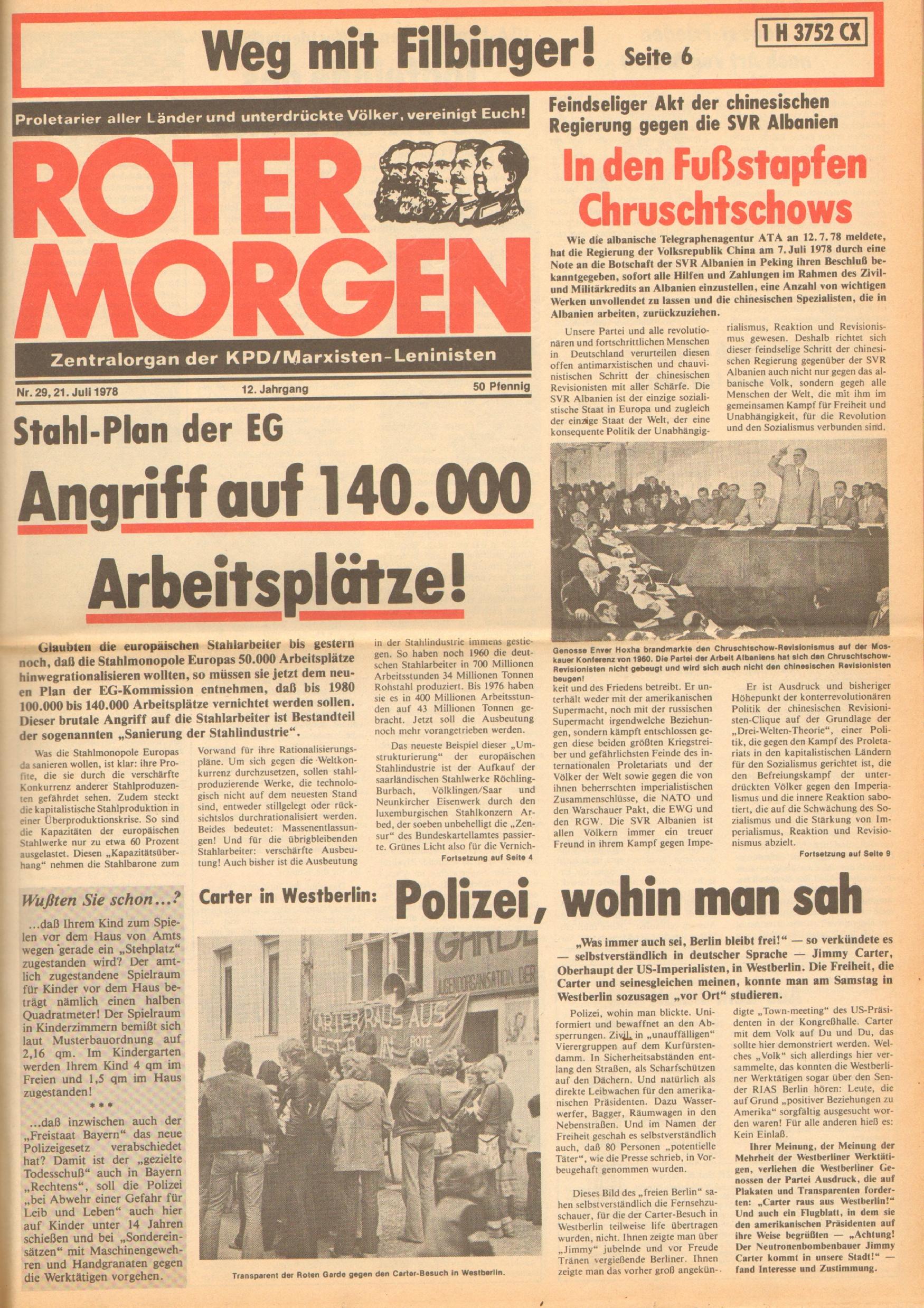 Roter Morgen, 12. Jg., 21. Juli 1978, Nr. 29, Seite 1