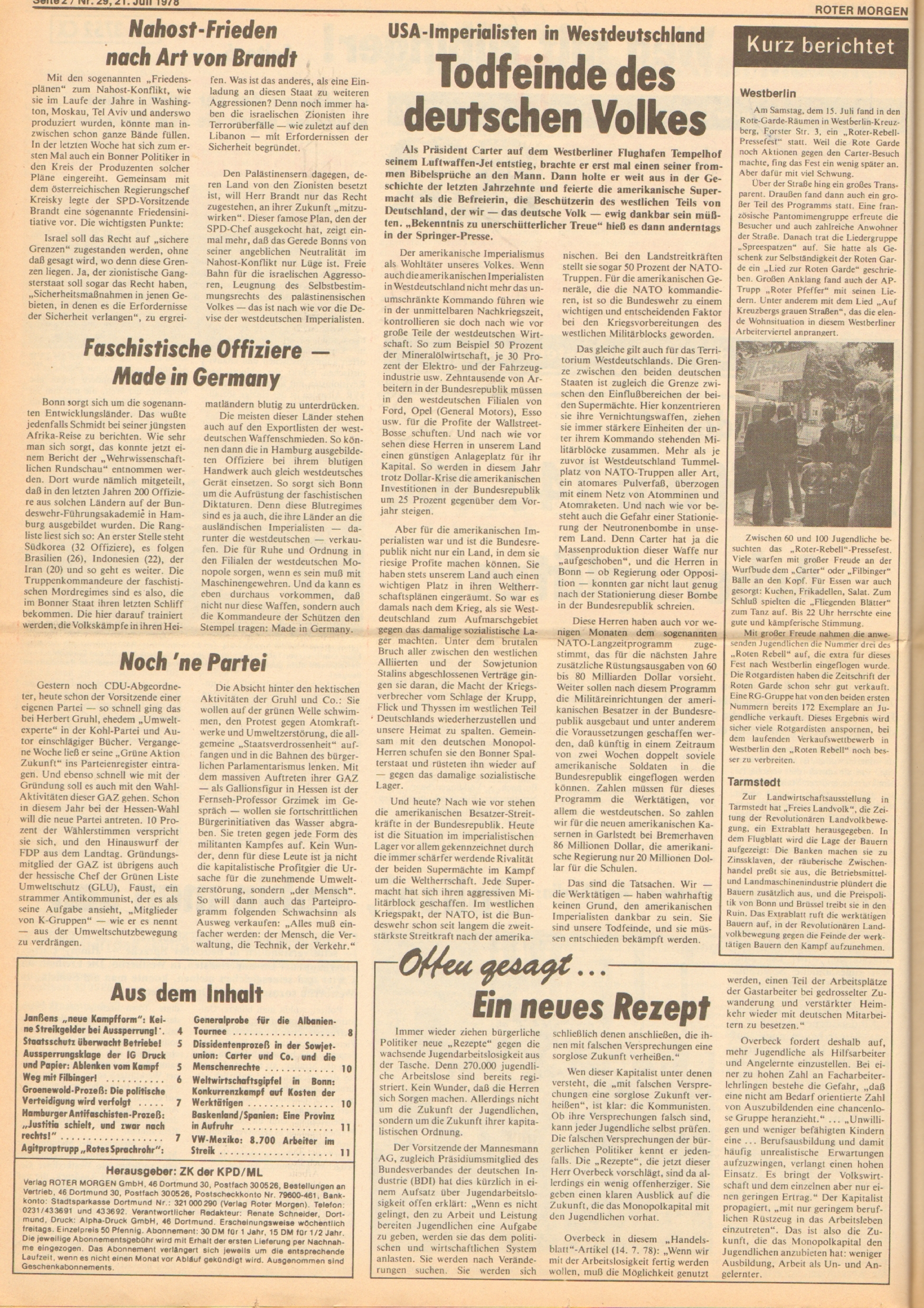 Roter Morgen, 12. Jg., 21. Juli 1978, Nr. 29, Seite 2