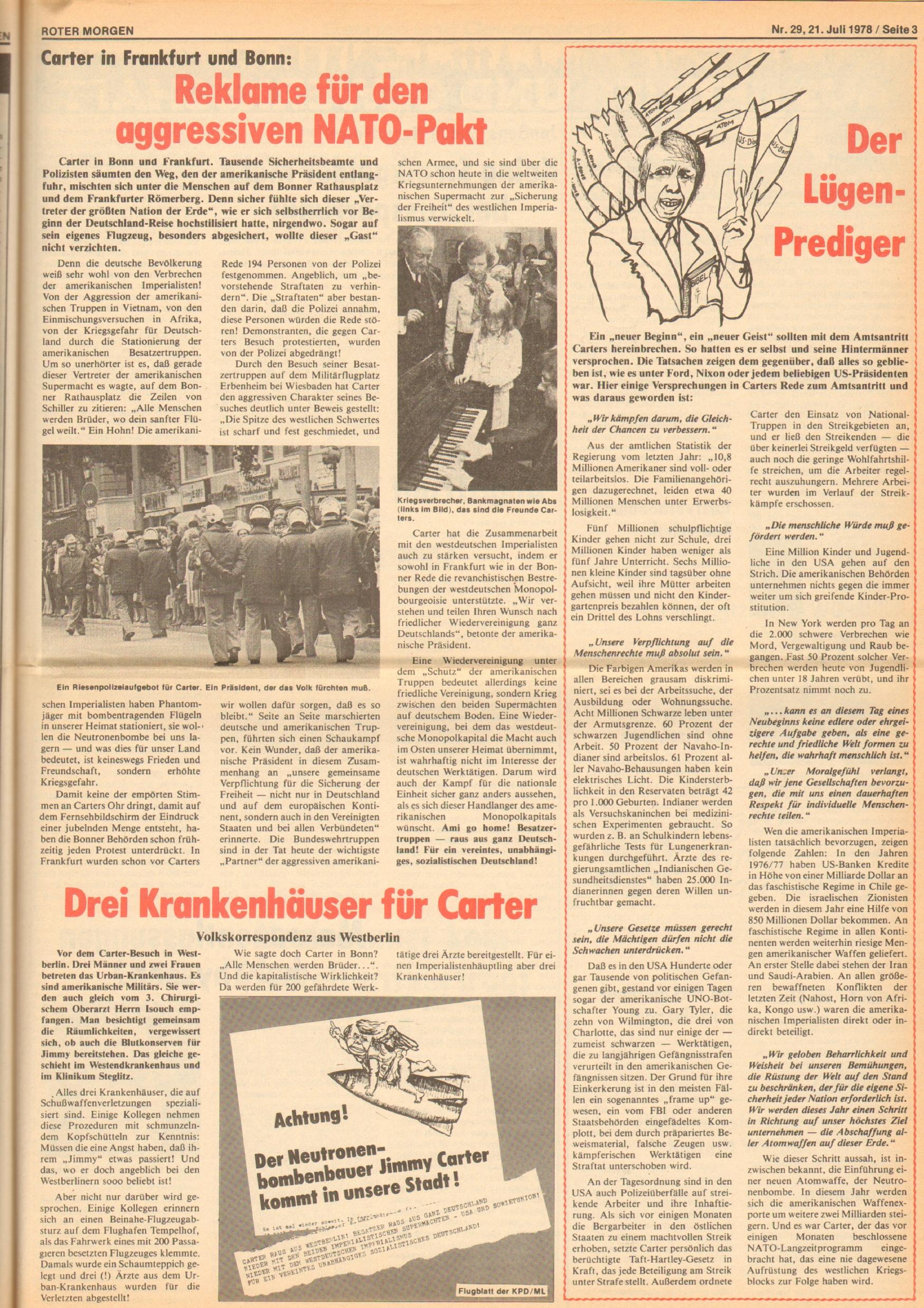 Roter Morgen, 12. Jg., 21. Juli 1978, Nr. 29, Seite 3
