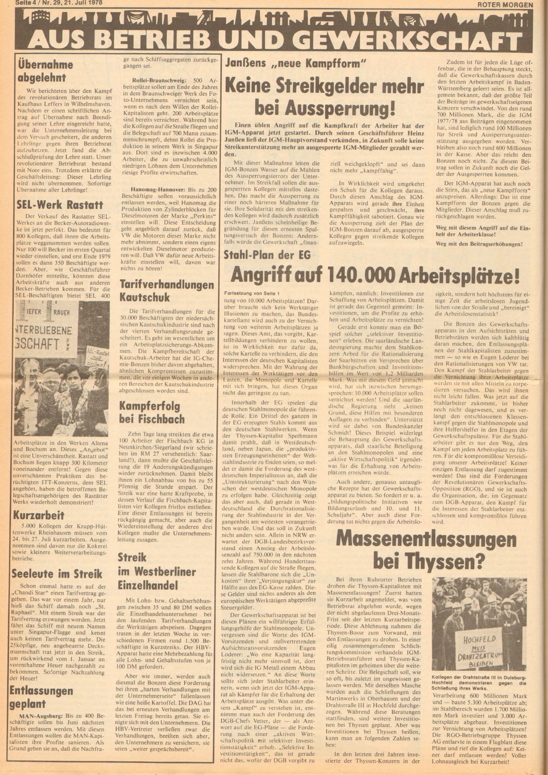 Roter Morgen, 12. Jg., 21. Juli 1978, Nr. 29, Seite 4