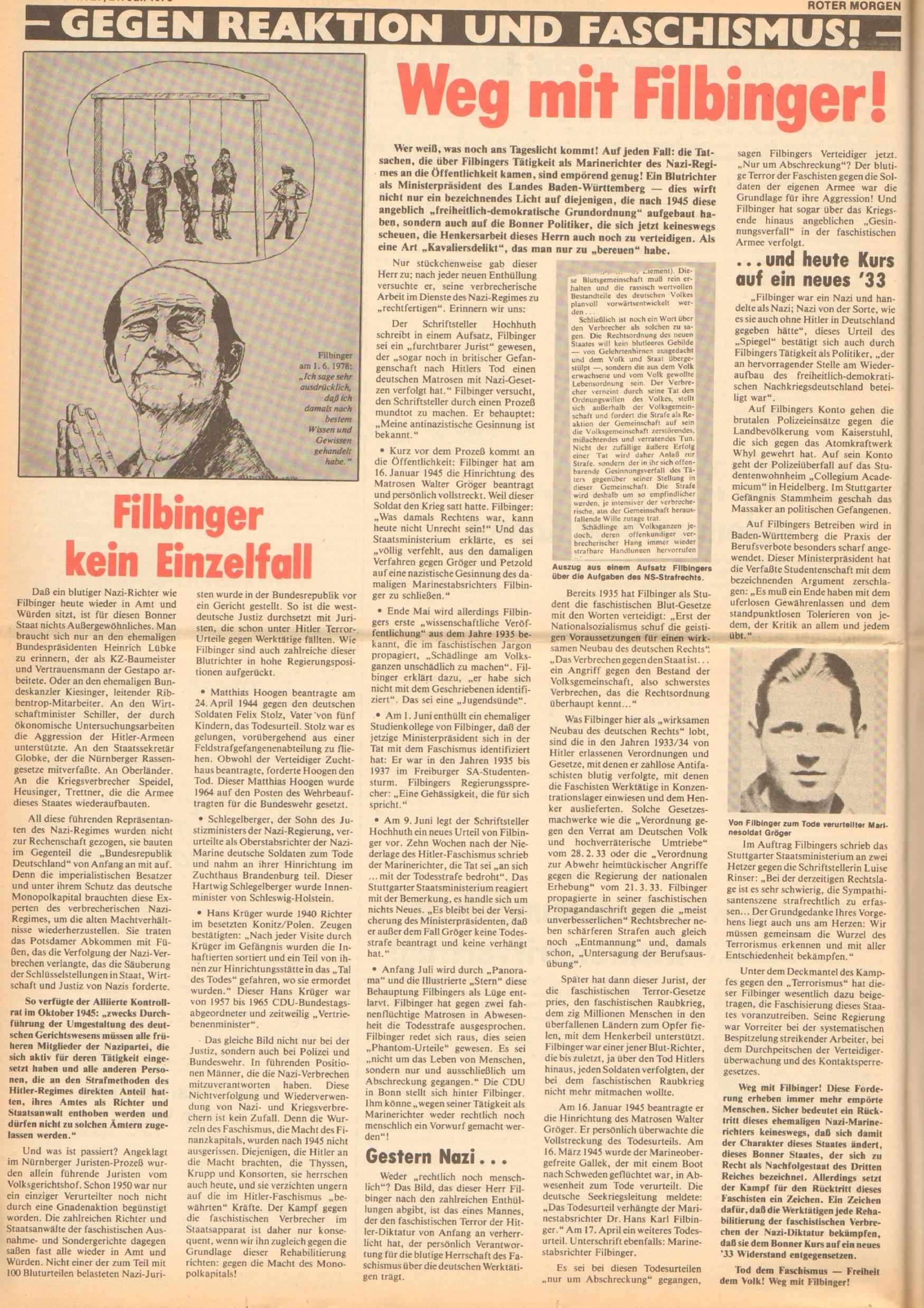 Roter Morgen, 12. Jg., 21. Juli 1978, Nr. 29, Seite 6