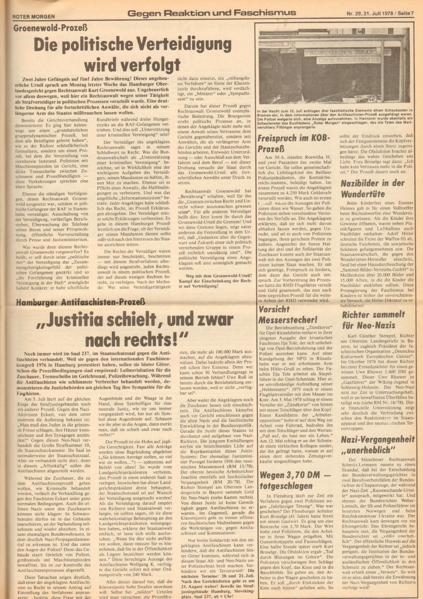 Roter Morgen, 12. Jg., 21. Juli 1978, Nr. 29, Seite 7