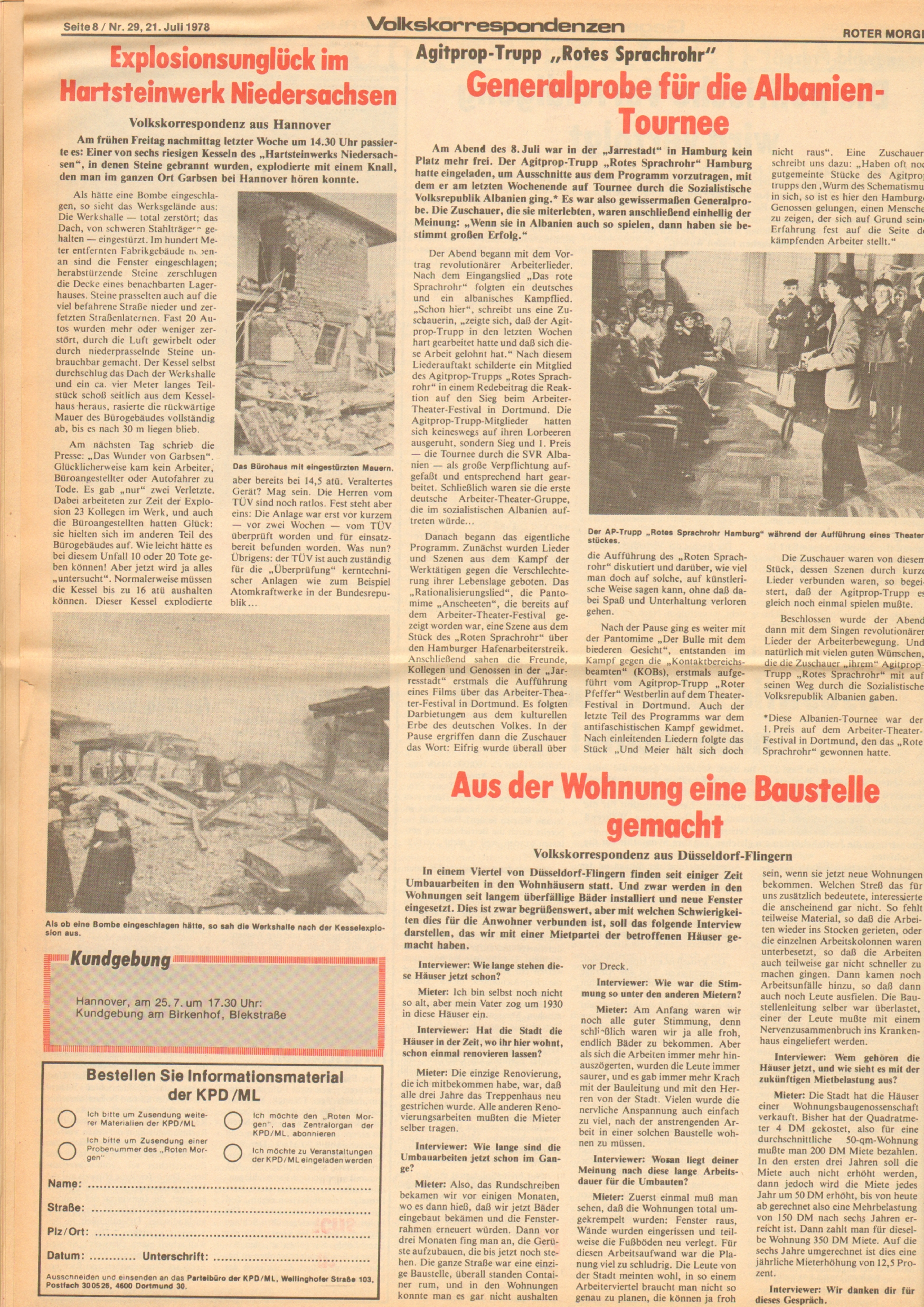 Roter Morgen, 12. Jg., 21. Juli 1978, Nr. 29, Seite 8