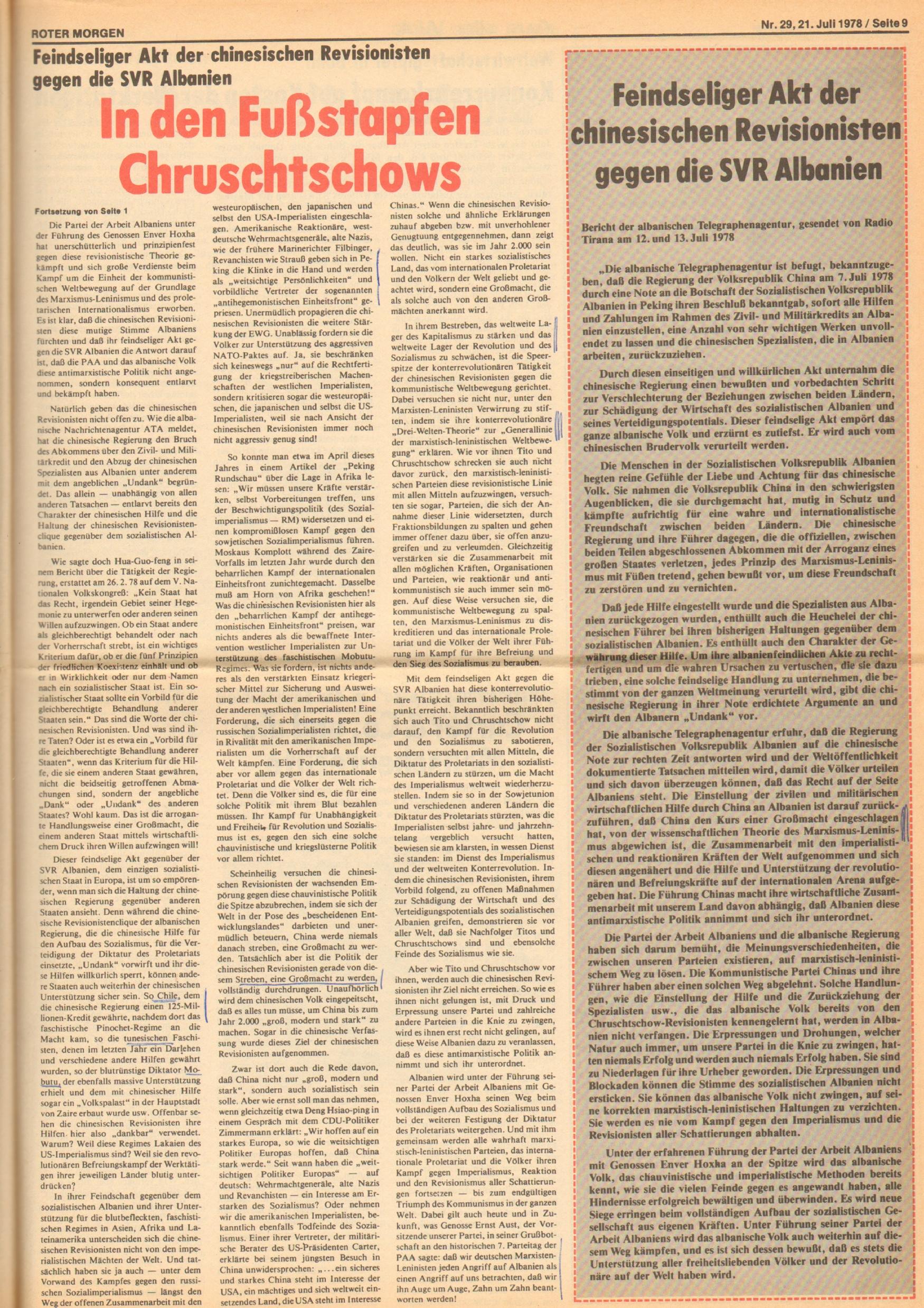 Roter Morgen, 12. Jg., 21. Juli 1978, Nr. 29, Seite 9