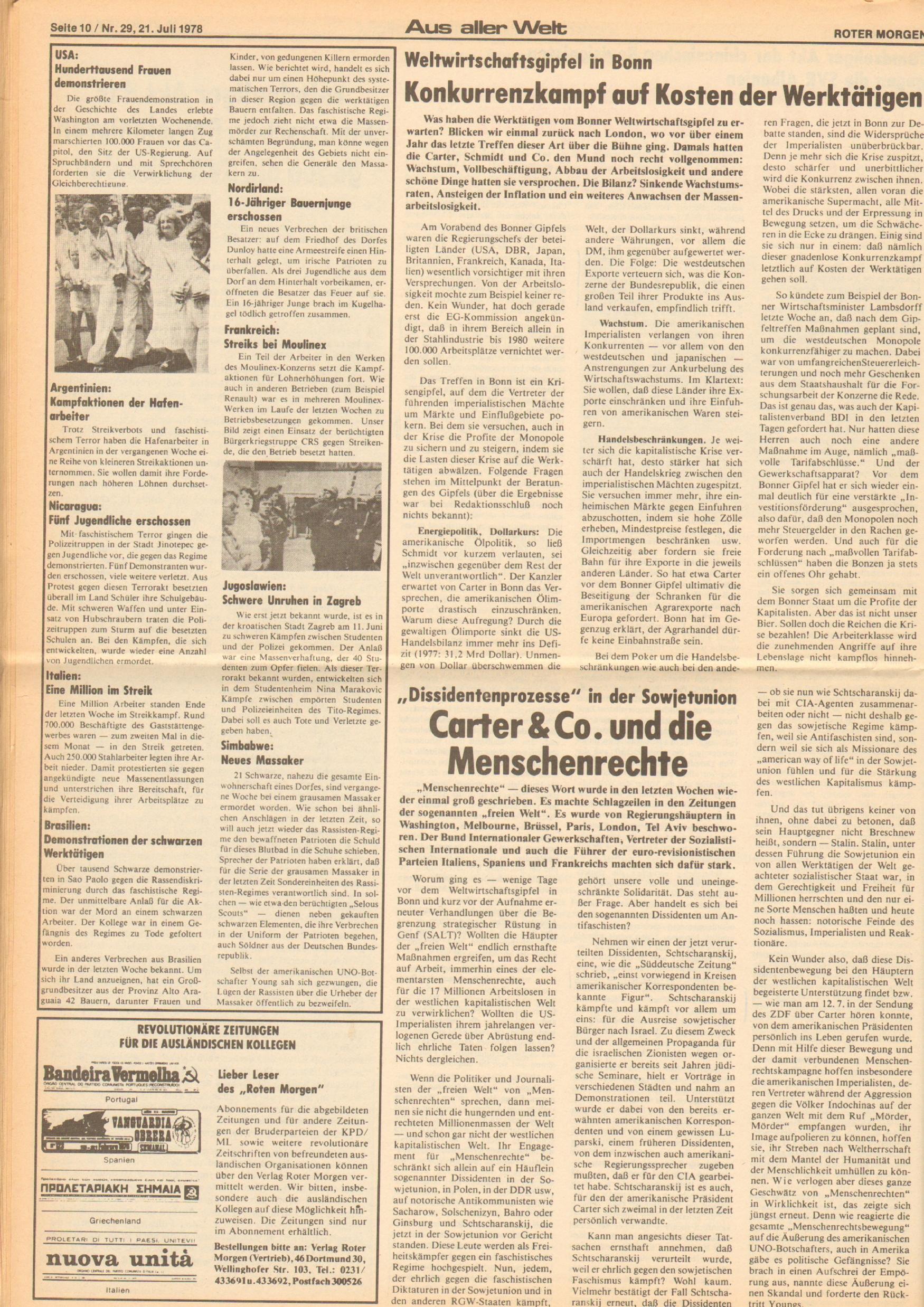 Roter Morgen, 12. Jg., 21. Juli 1978, Nr. 29, Seite 10