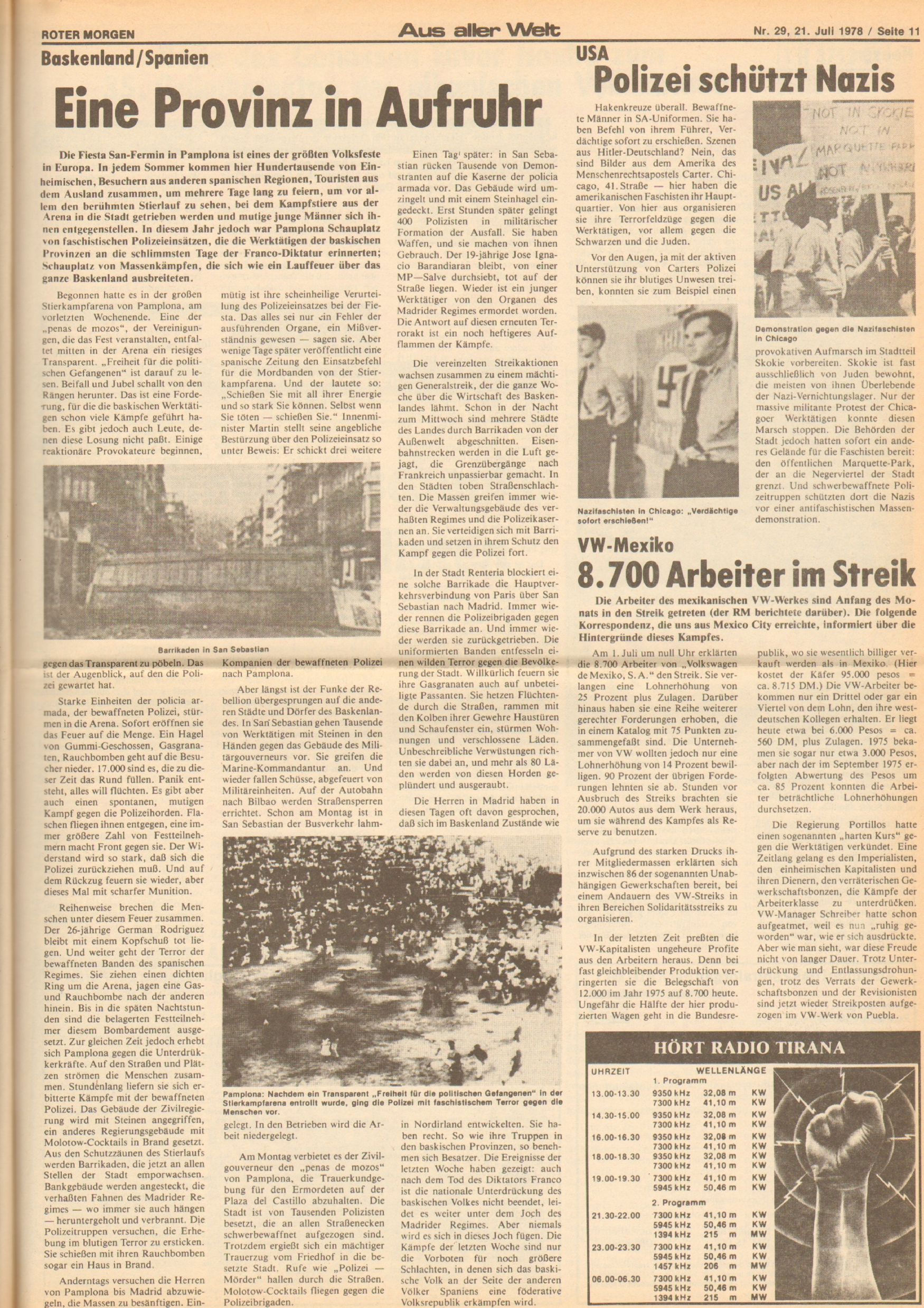 Roter Morgen, 12. Jg., 21. Juli 1978, Nr. 29, Seite 11