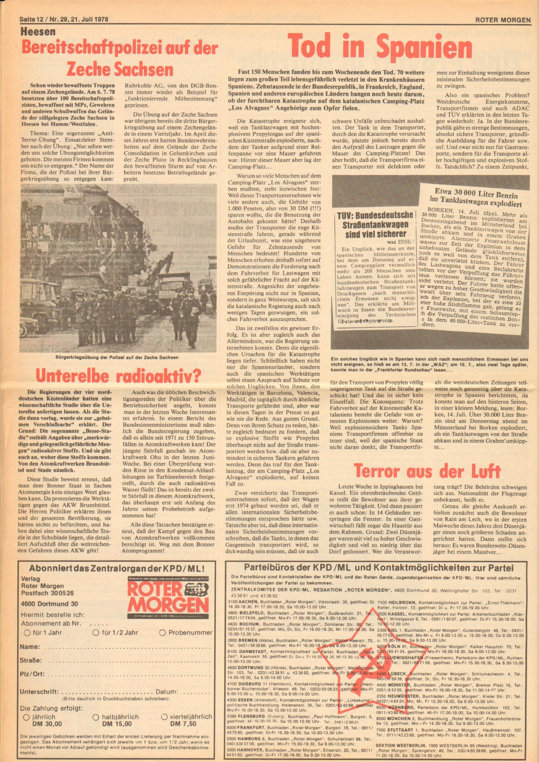Roter Morgen, 12. Jg., 21. Juli 1978, Nr. 29, Seite 12