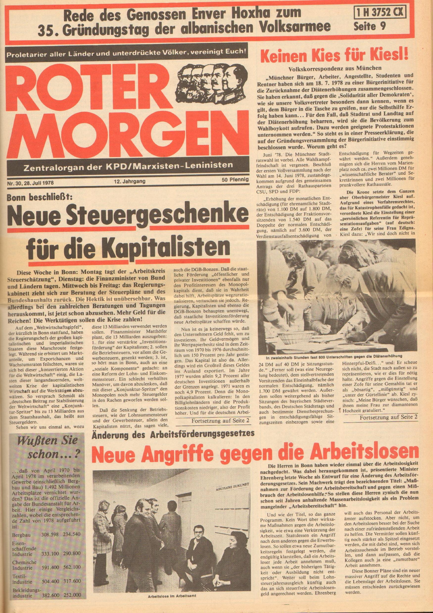 Roter Morgen, 12. Jg., 28. Juli 1978, Nr. 30, Seite 1