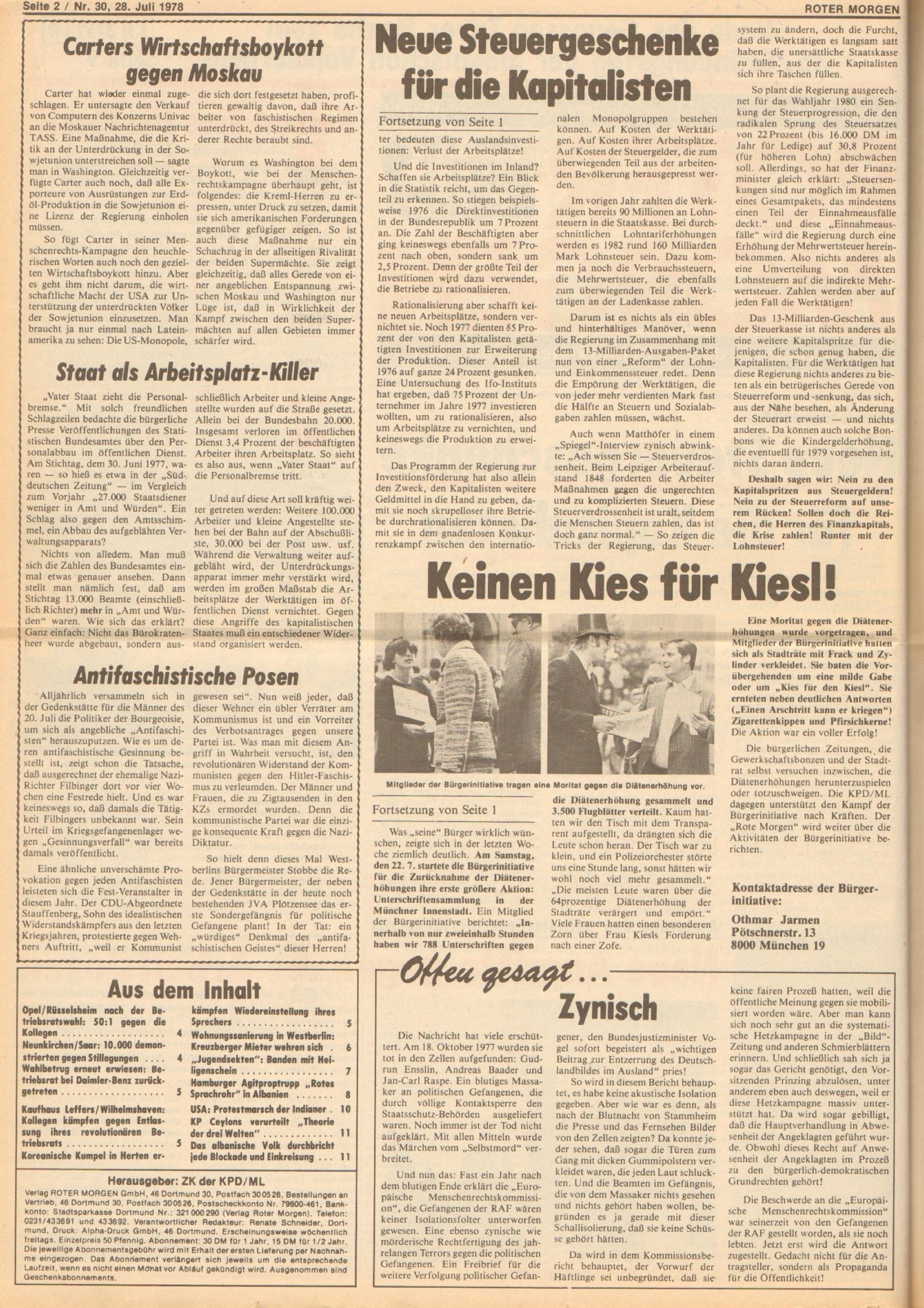 Roter Morgen, 12. Jg., 28. Juli 1978, Nr. 30, Seite 2