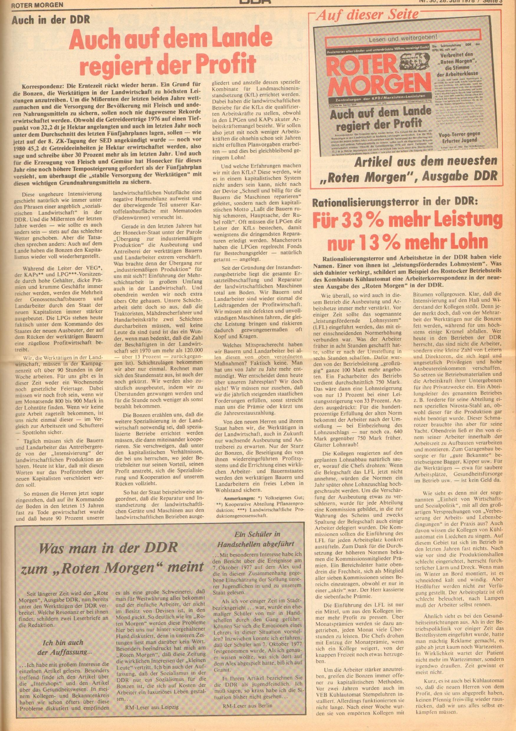 Roter Morgen, 12. Jg., 28. Juli 1978, Nr. 30, Seite 3