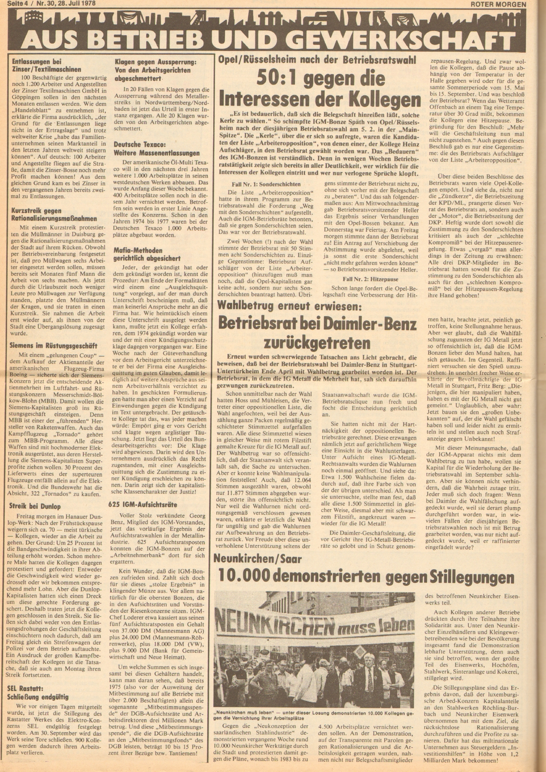 Roter Morgen, 12. Jg., 28. Juli 1978, Nr. 30, Seite 4