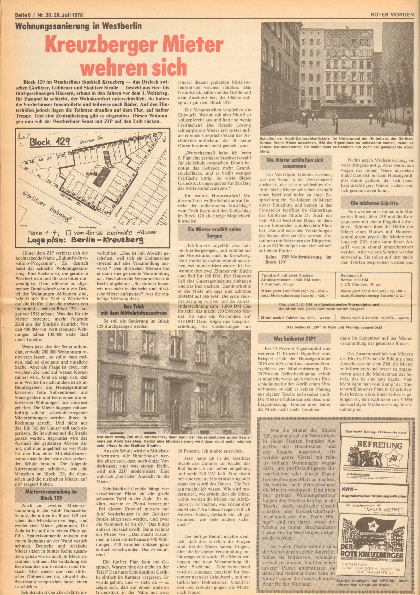 Roter Morgen, 12. Jg., 28. Juli 1978, Nr. 30, Seite 6