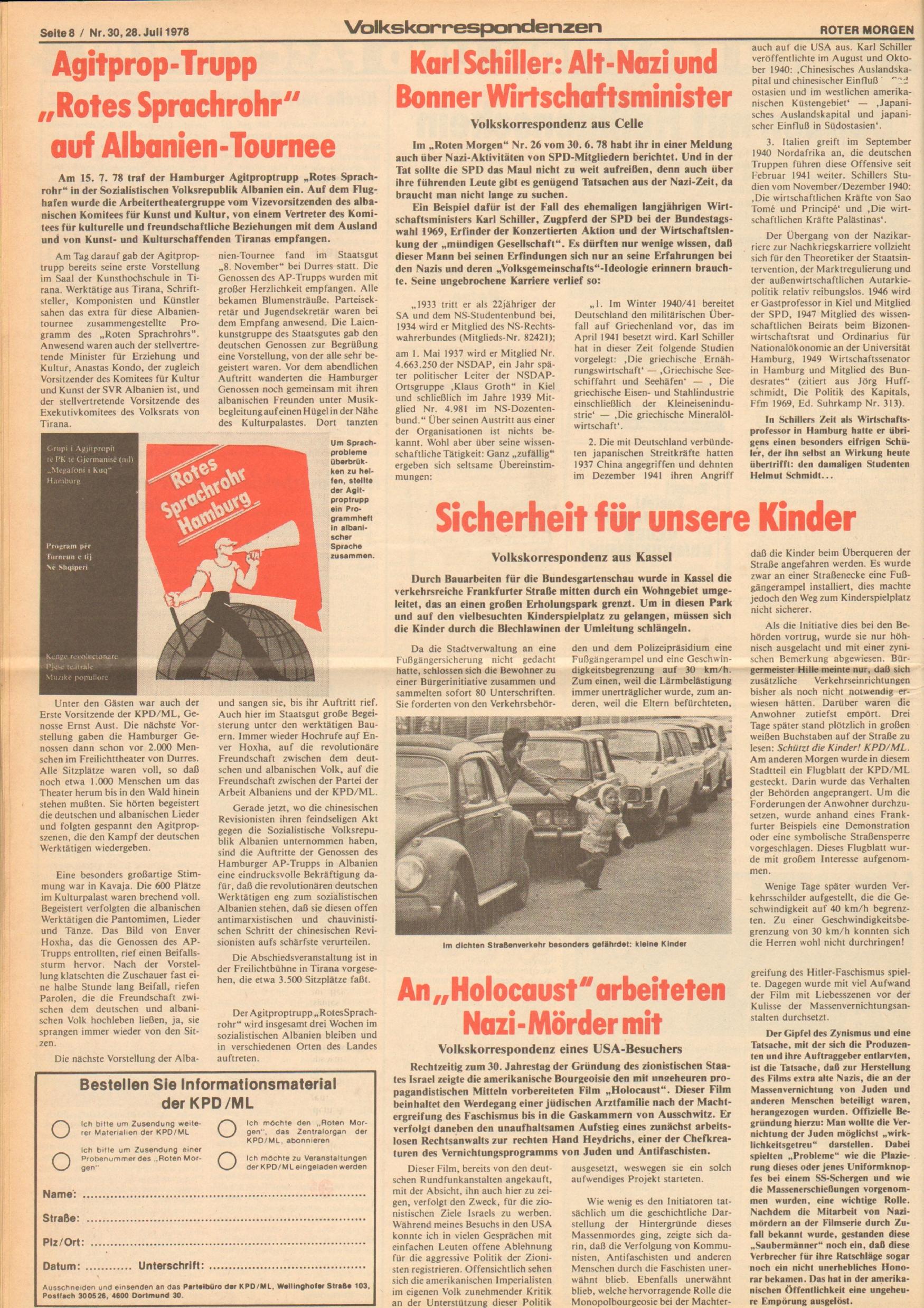 Roter Morgen, 12. Jg., 28. Juli 1978, Nr. 30, Seite 8