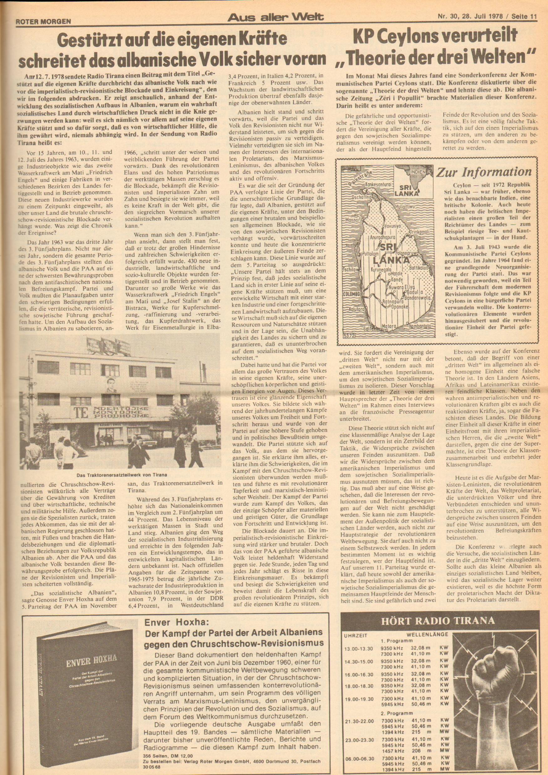 Roter Morgen, 12. Jg., 28. Juli 1978, Nr. 30, Seite 11