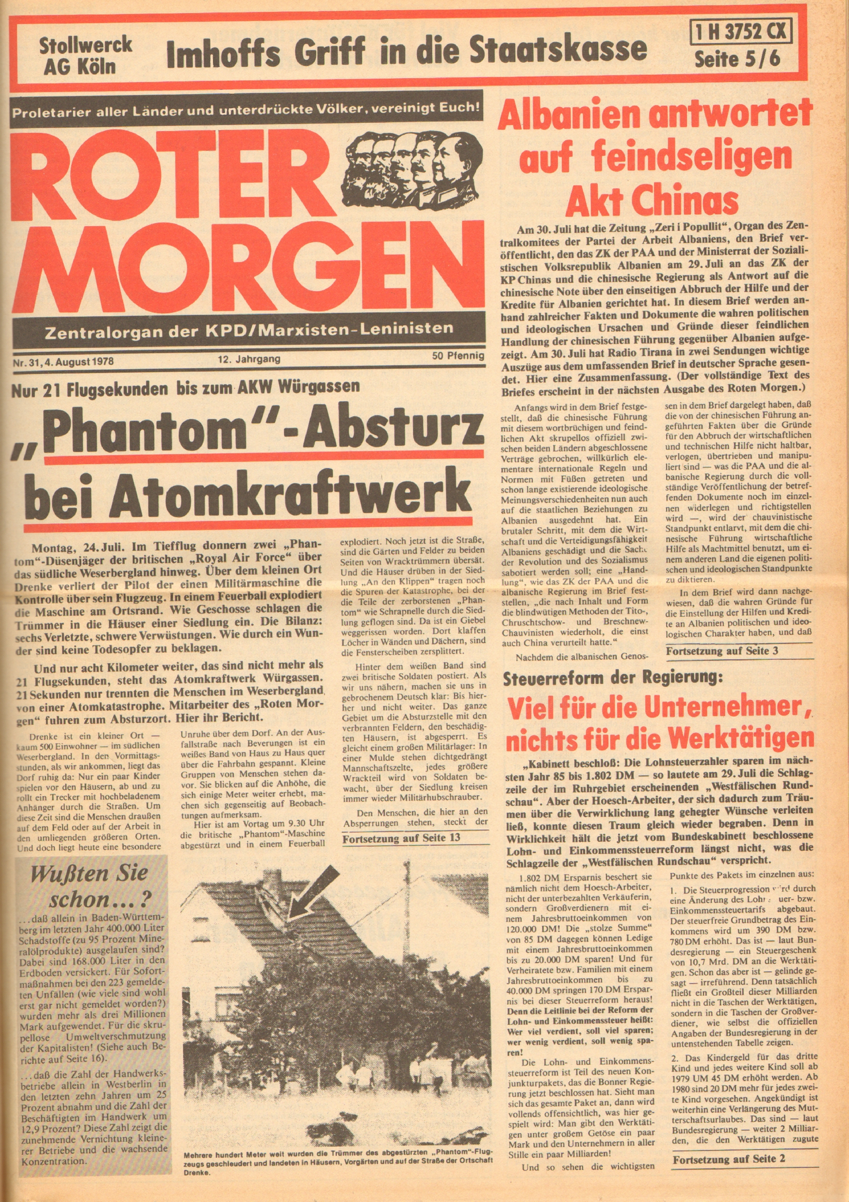 Roter Morgen, 12. Jg., 4. August 1978, Nr. 31, Seite 1