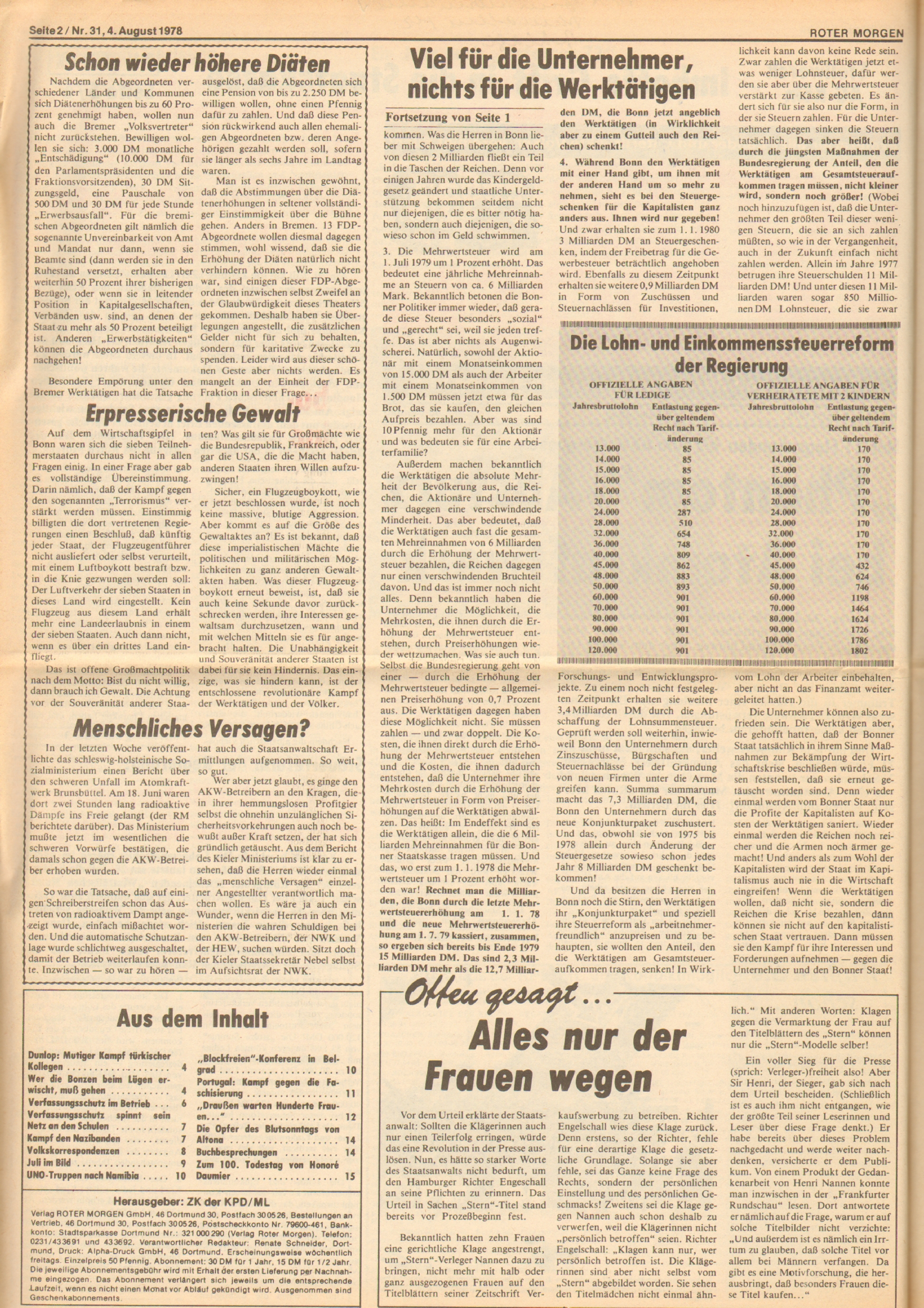 Roter Morgen, 12. Jg., 4. August 1978, Nr. 31, Seite 2