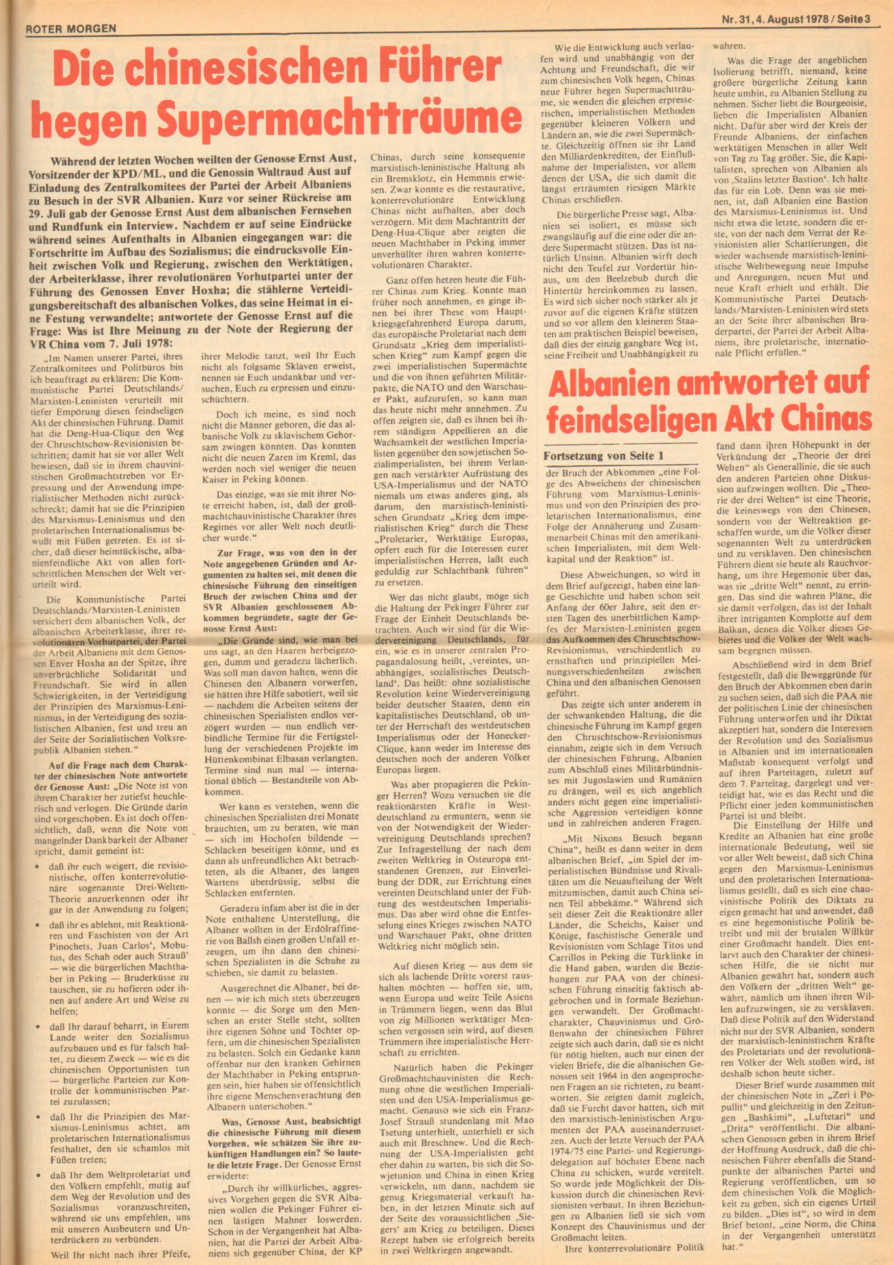 Roter Morgen, 12. Jg., 4. August 1978, Nr. 31, Seite 3