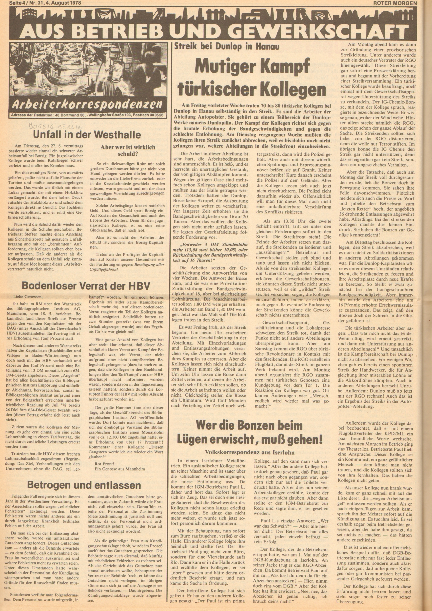 Roter Morgen, 12. Jg., 4. August 1978, Nr. 31, Seite 4
