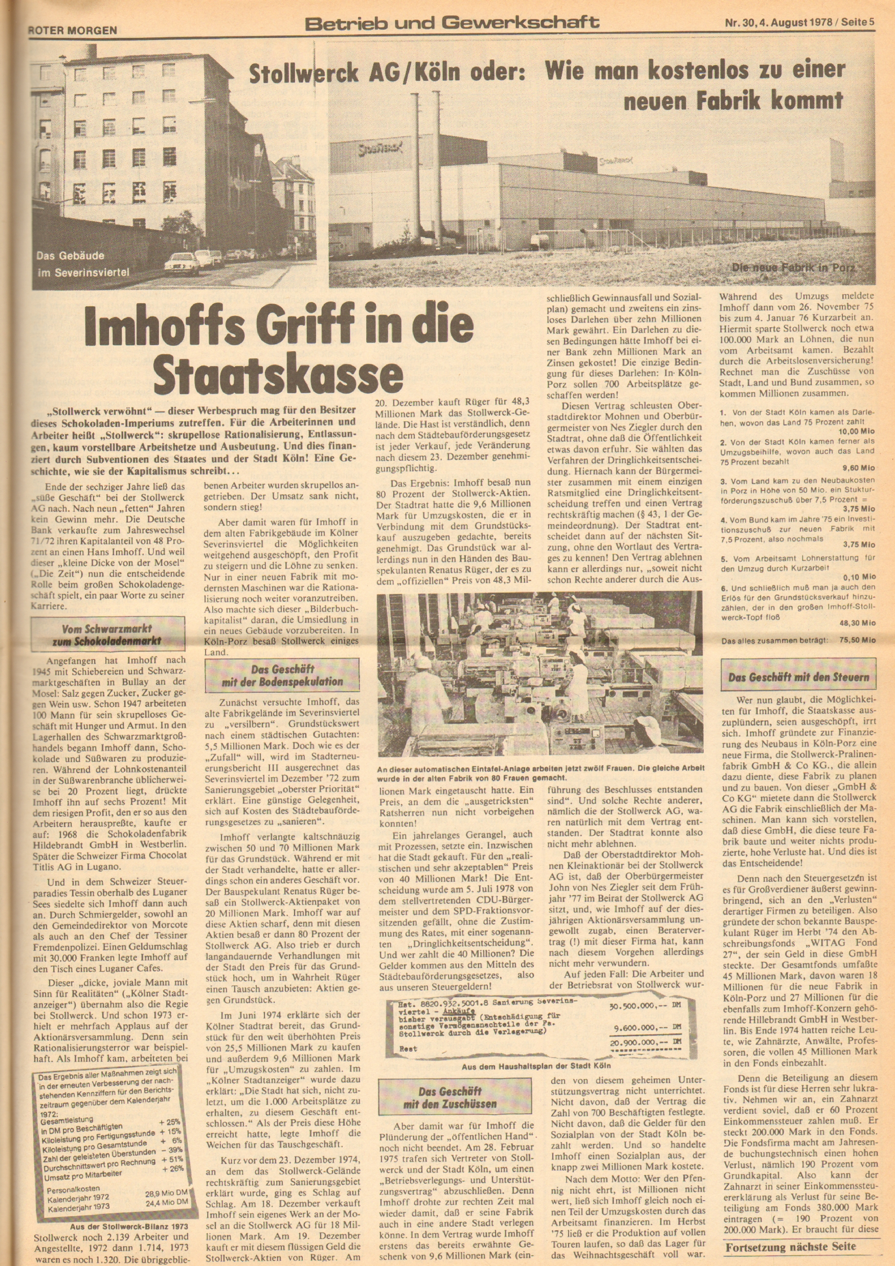 Roter Morgen, 12. Jg., 4. August 1978, Nr. 31, Seite 5