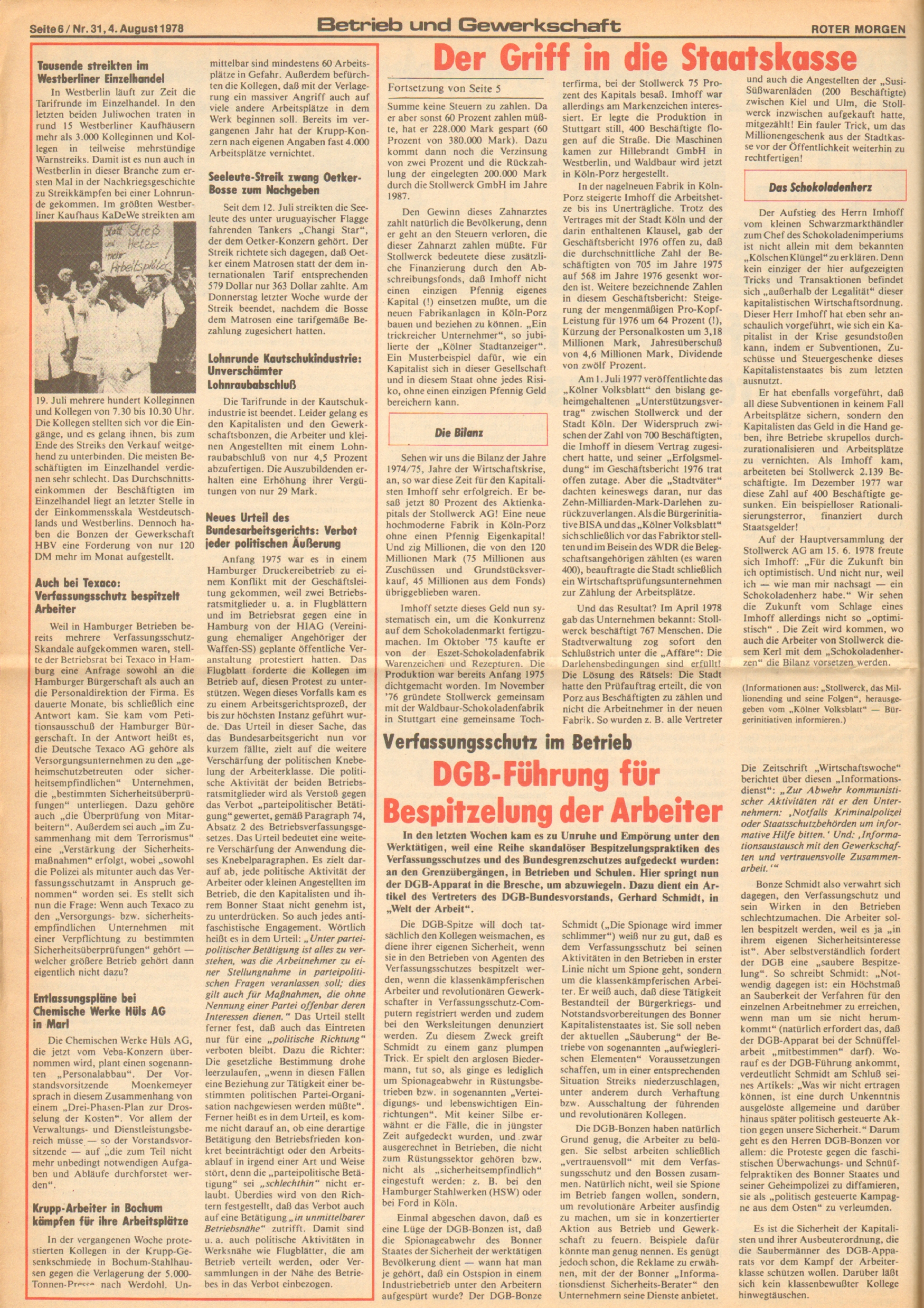 Roter Morgen, 12. Jg., 4. August 1978, Nr. 31, Seite 6