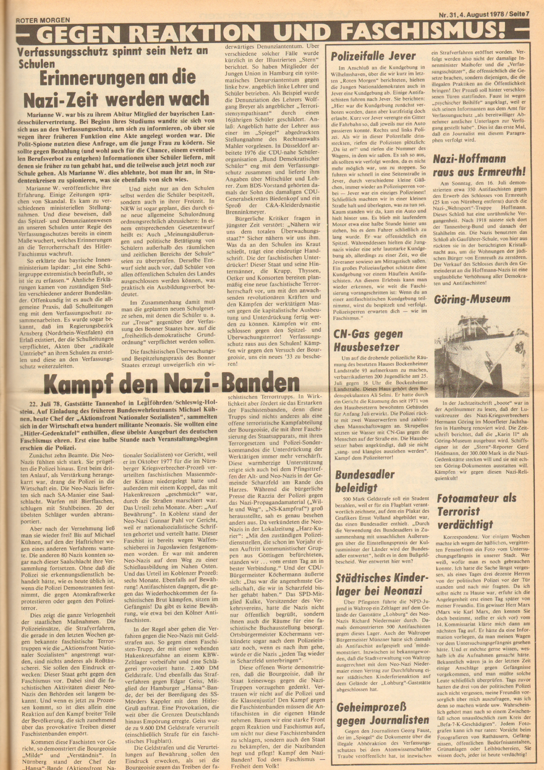 Roter Morgen, 12. Jg., 4. August 1978, Nr. 31, Seite 7