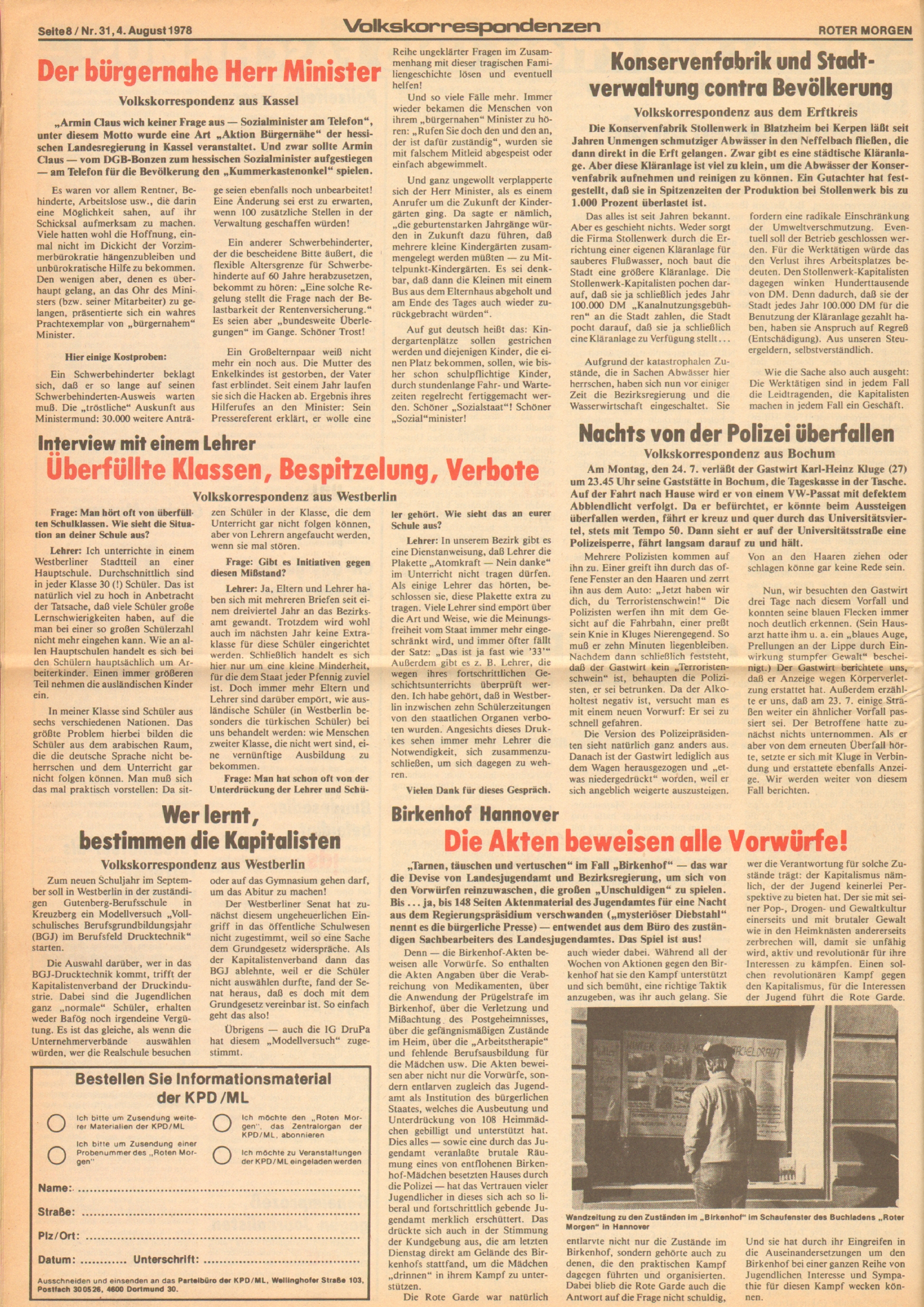 Roter Morgen, 12. Jg., 4. August 1978, Nr. 31, Seite 8
