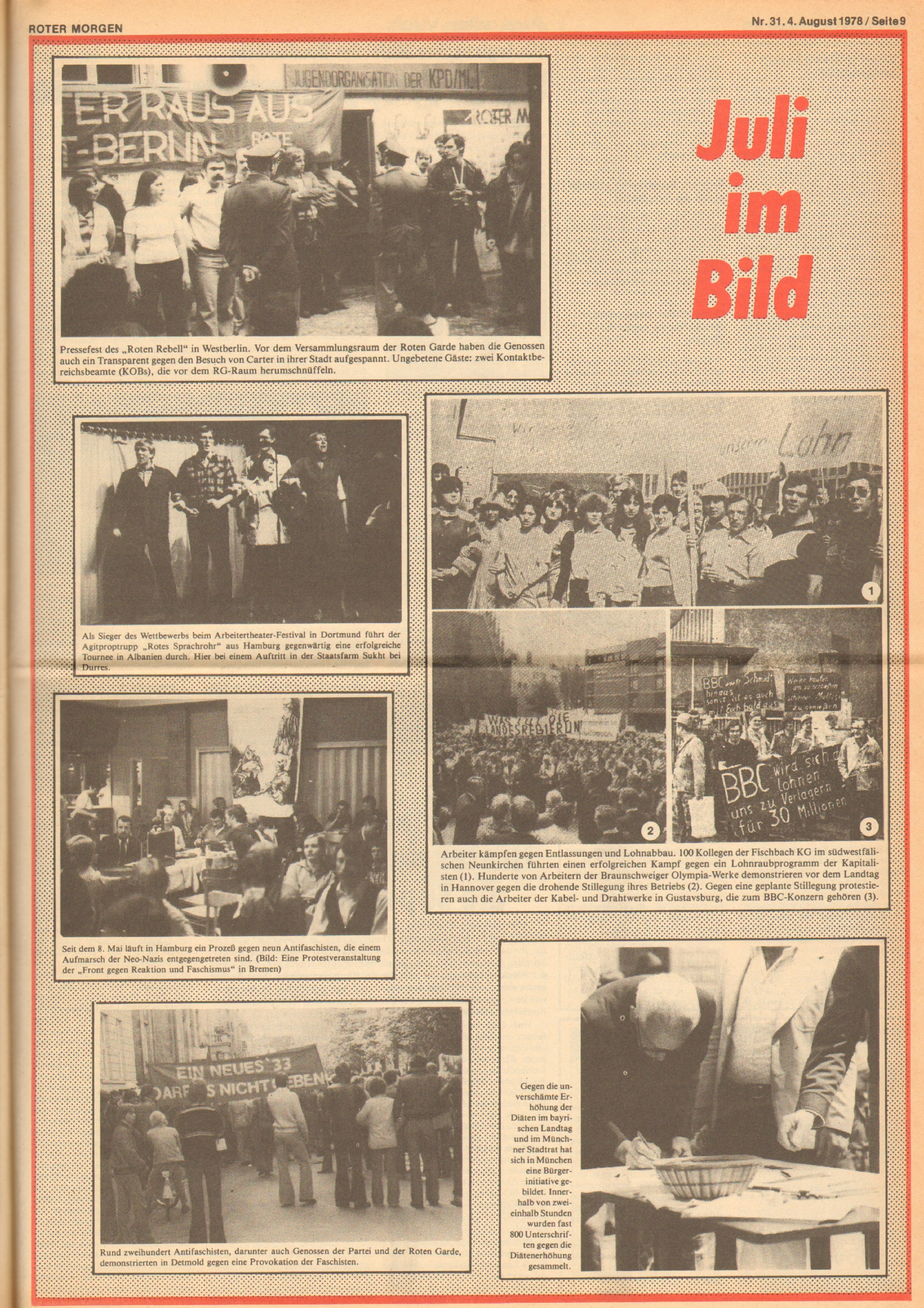 Roter Morgen, 12. Jg., 4. August 1978, Nr. 31, Seite 9