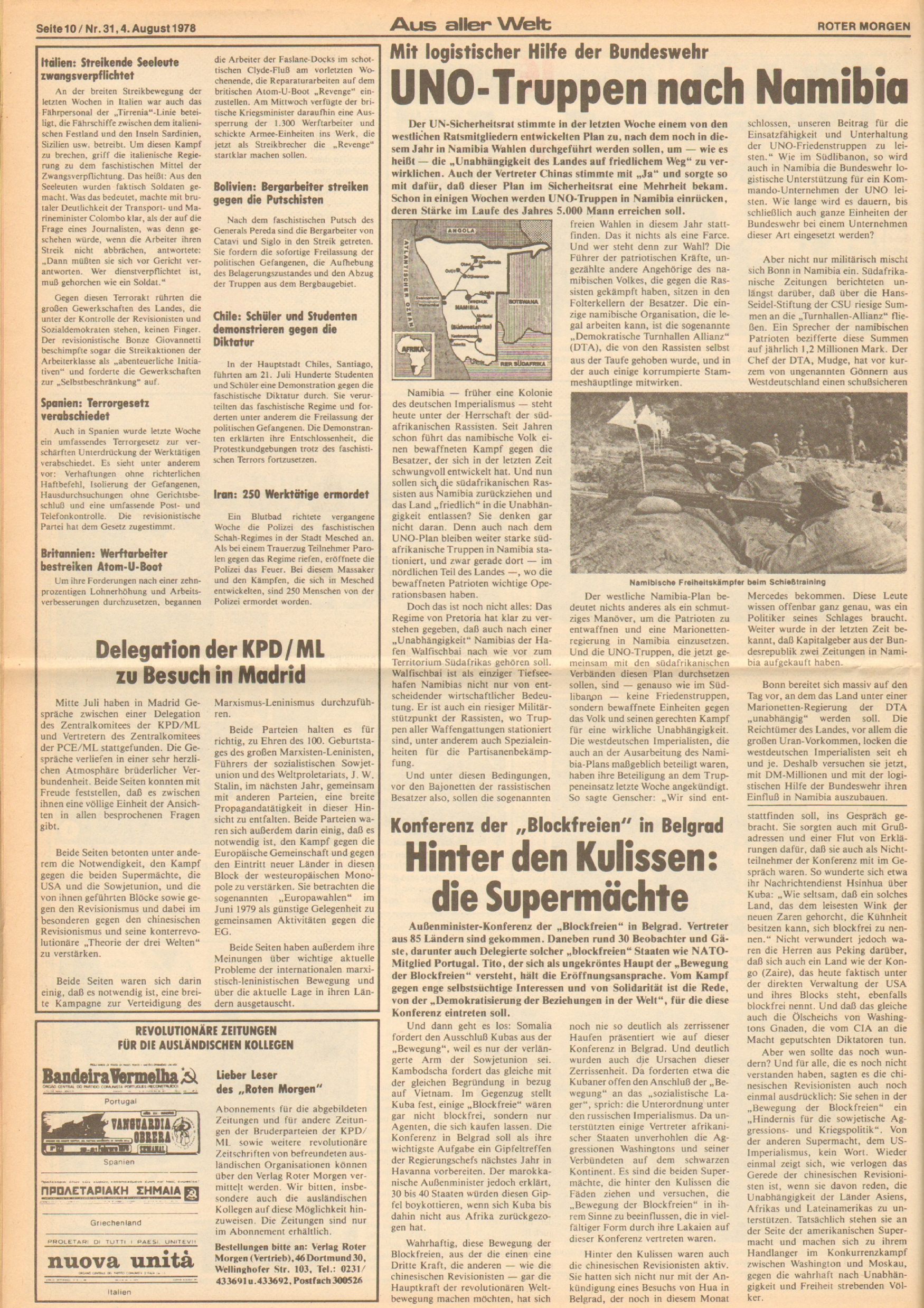 Roter Morgen, 12. Jg., 4. August 1978, Nr. 31, Seite 10