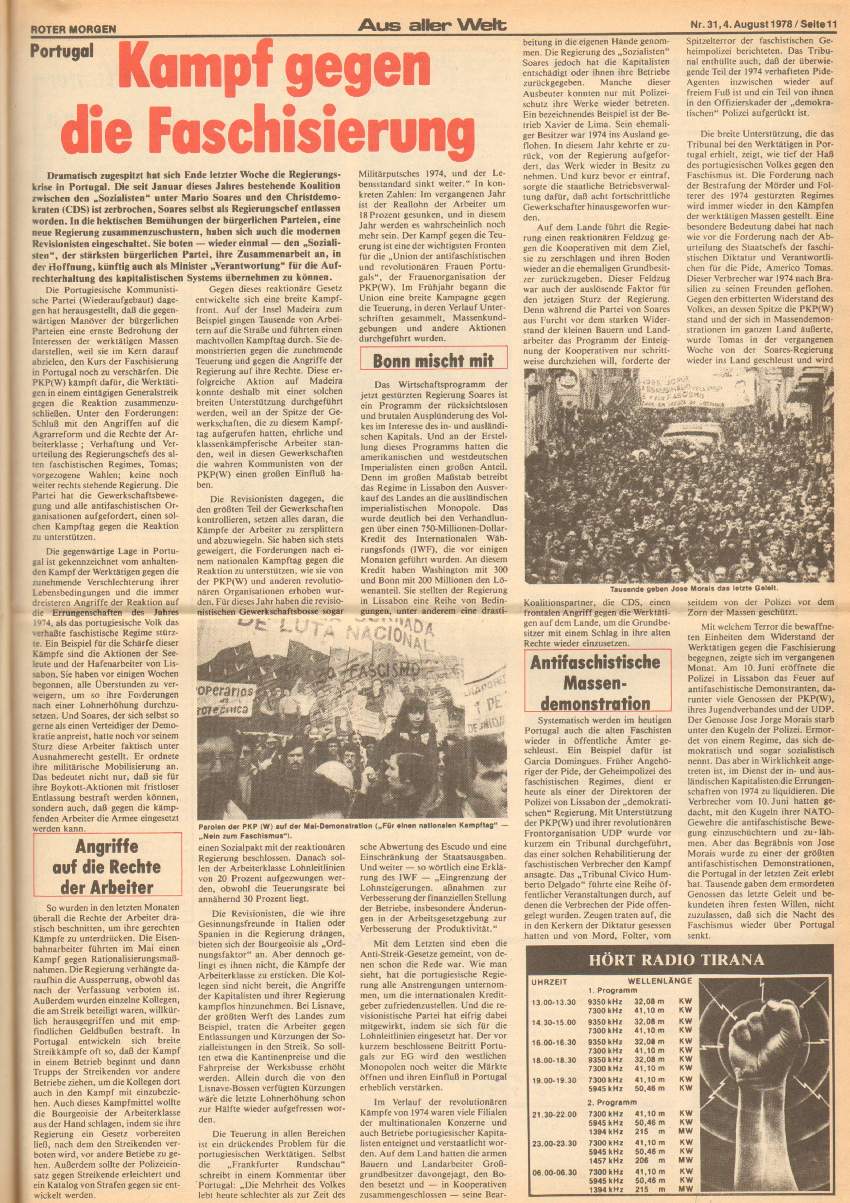 Roter Morgen, 12. Jg., 4. August 1978, Nr. 31, Seite 11