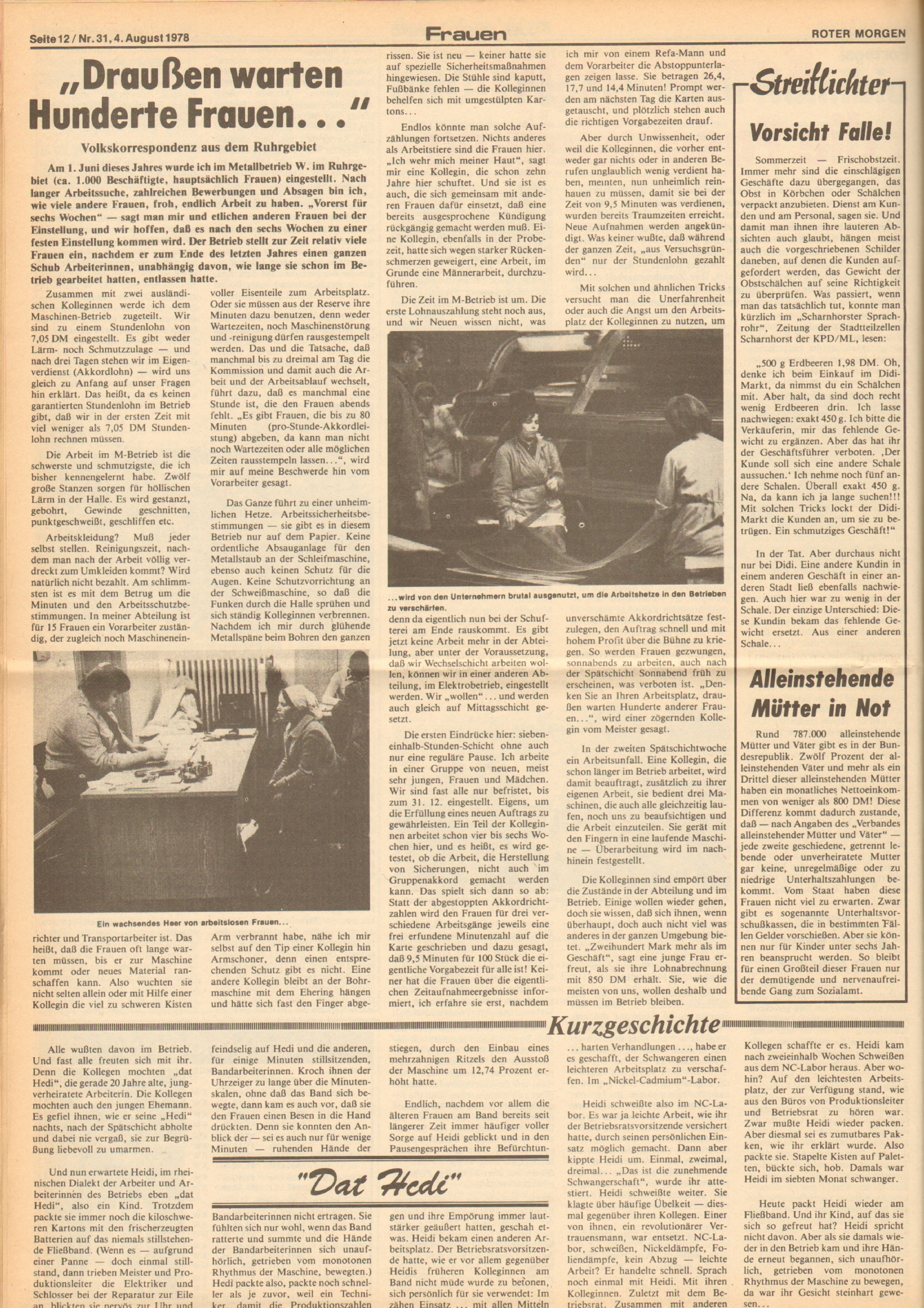 Roter Morgen, 12. Jg., 4. August 1978, Nr. 31, Seite 12