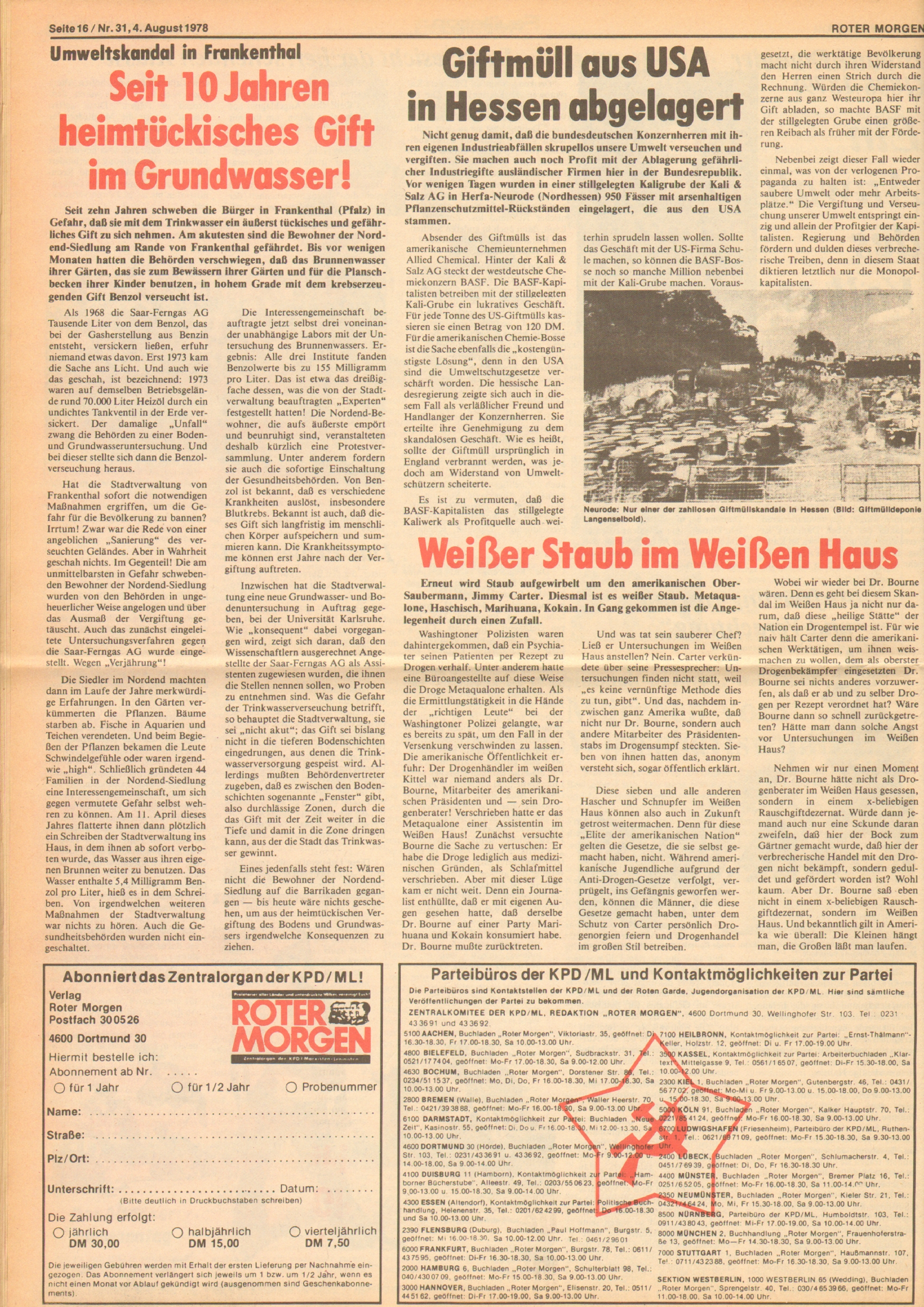 Roter Morgen, 12. Jg., 4. August 1978, Nr. 31, Seite 16