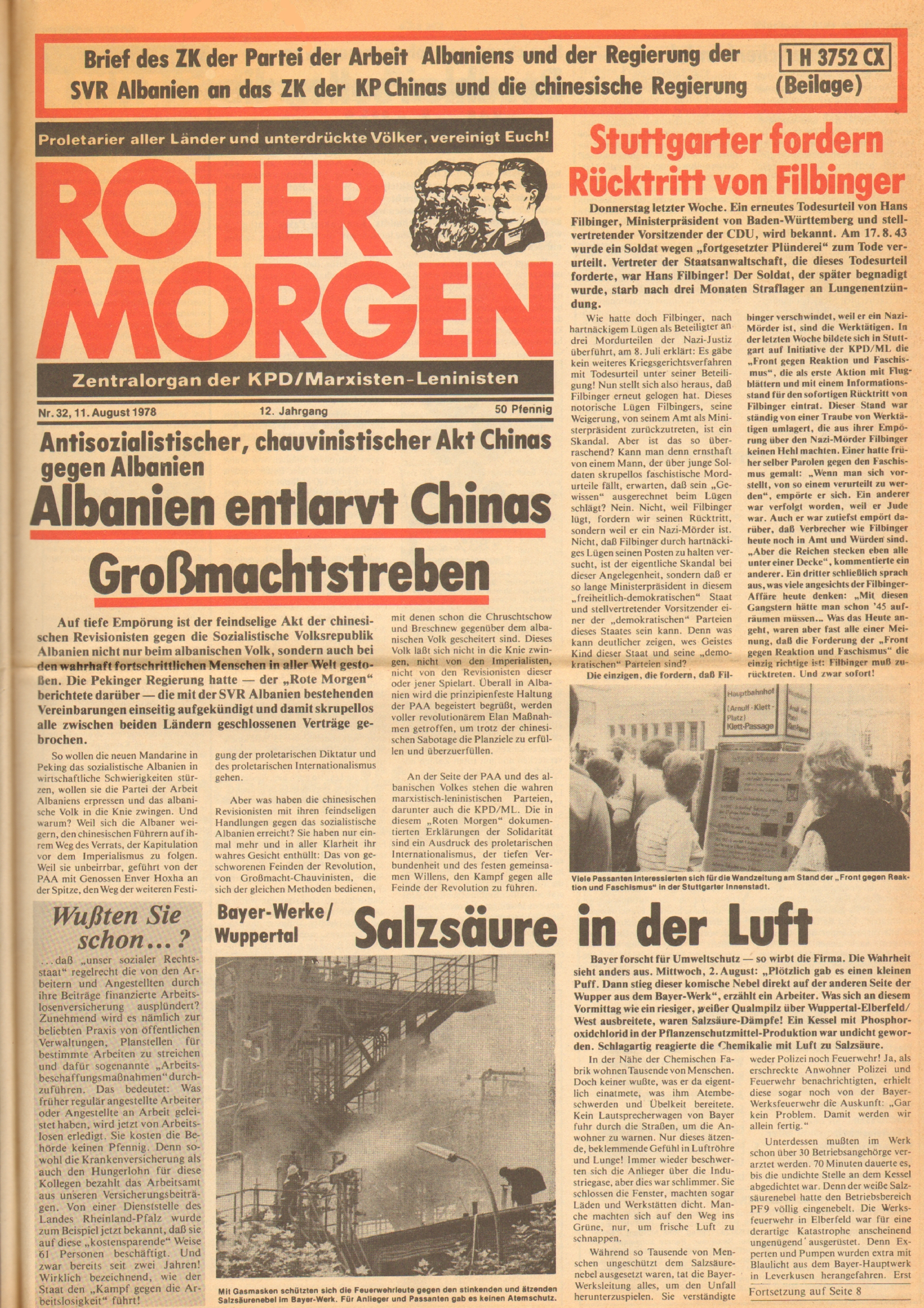Roter Morgen, 12. Jg., 11. August 1978, Nr. 32, Seite 1