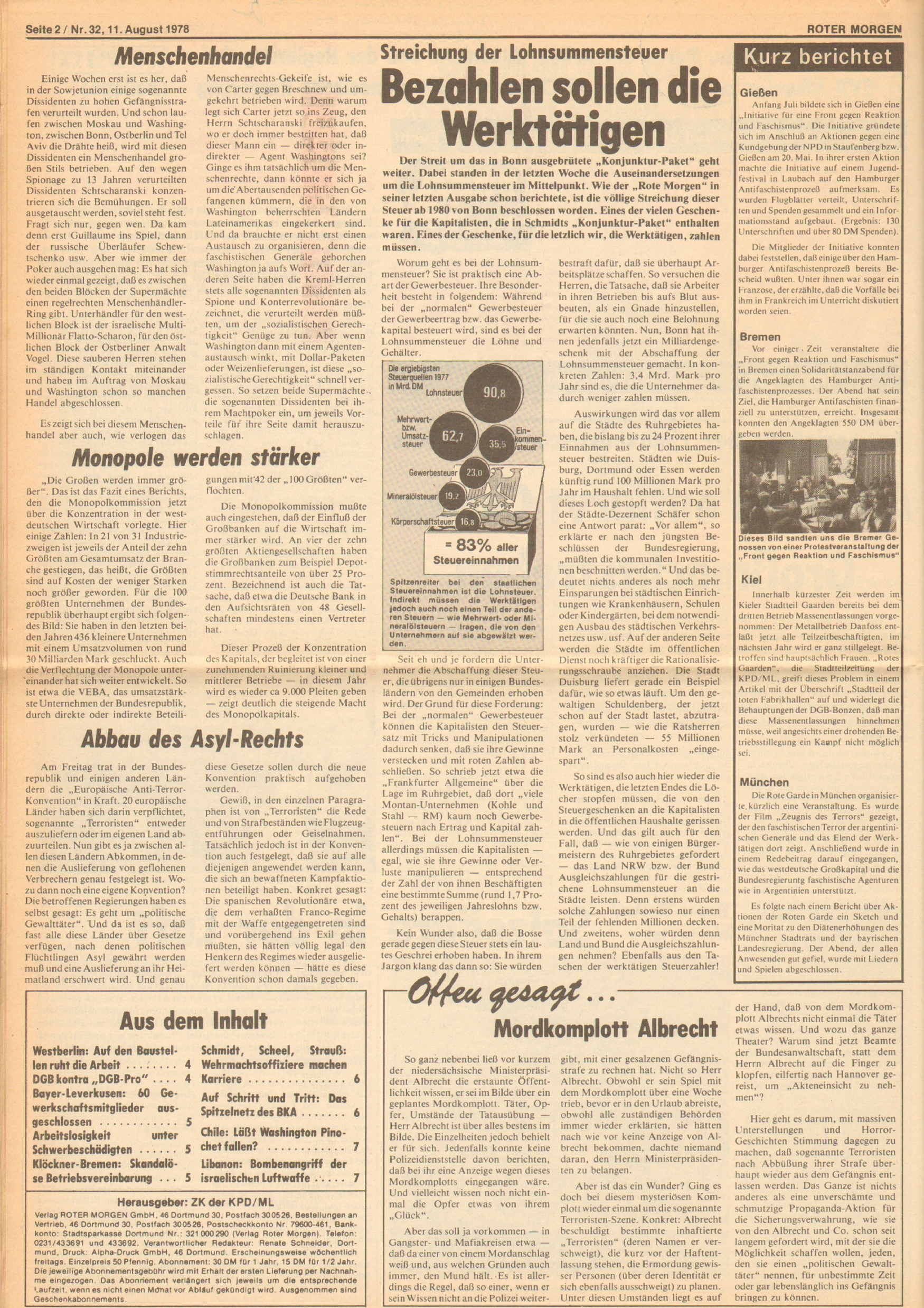 Roter Morgen, 12. Jg., 11. August 1978, Nr. 32, Seite 2
