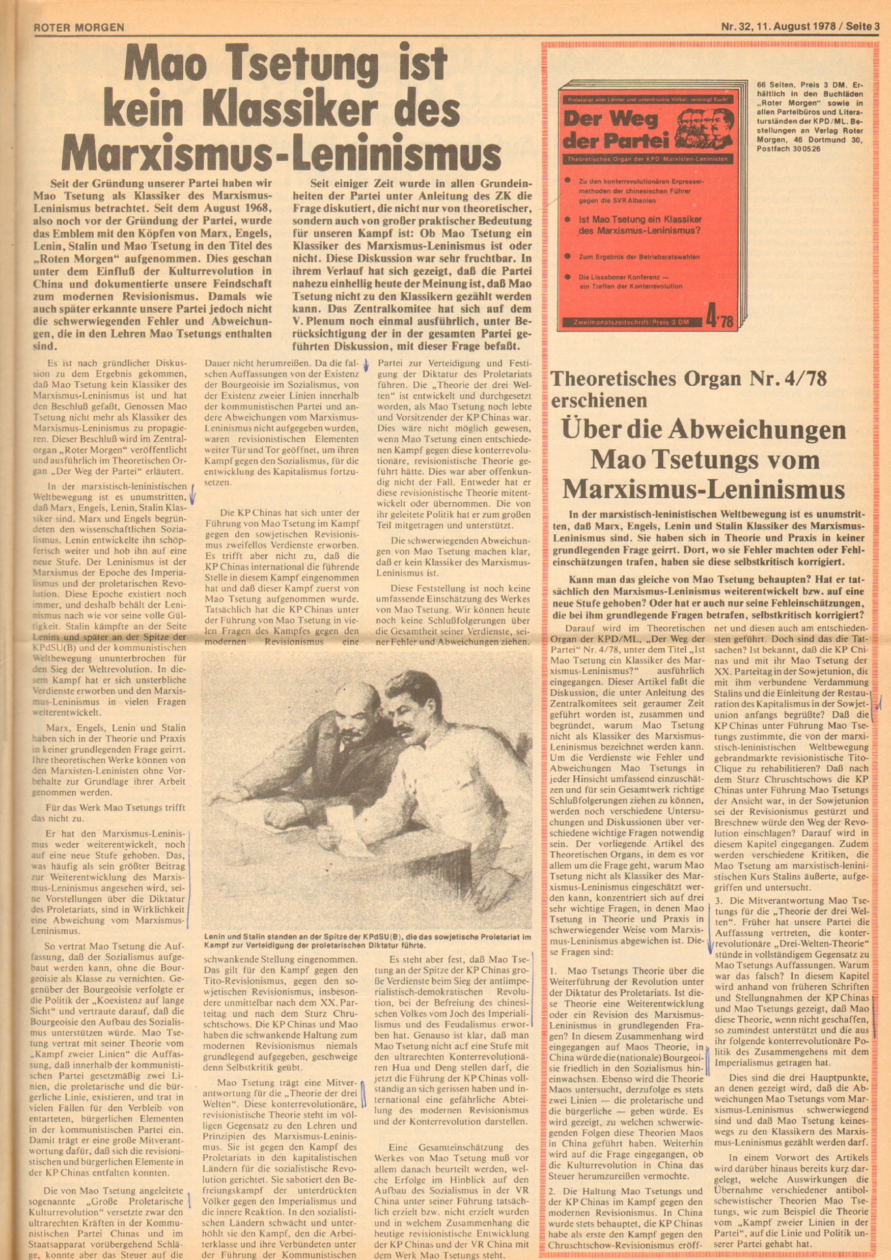 Roter Morgen, 12. Jg., 11. August 1978, Nr. 32, Seite 3