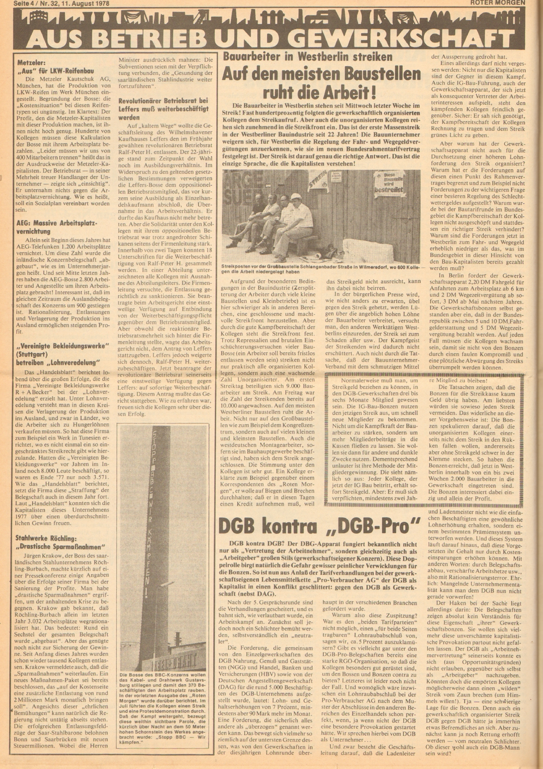 Roter Morgen, 12. Jg., 11. August 1978, Nr. 32, Seite 4