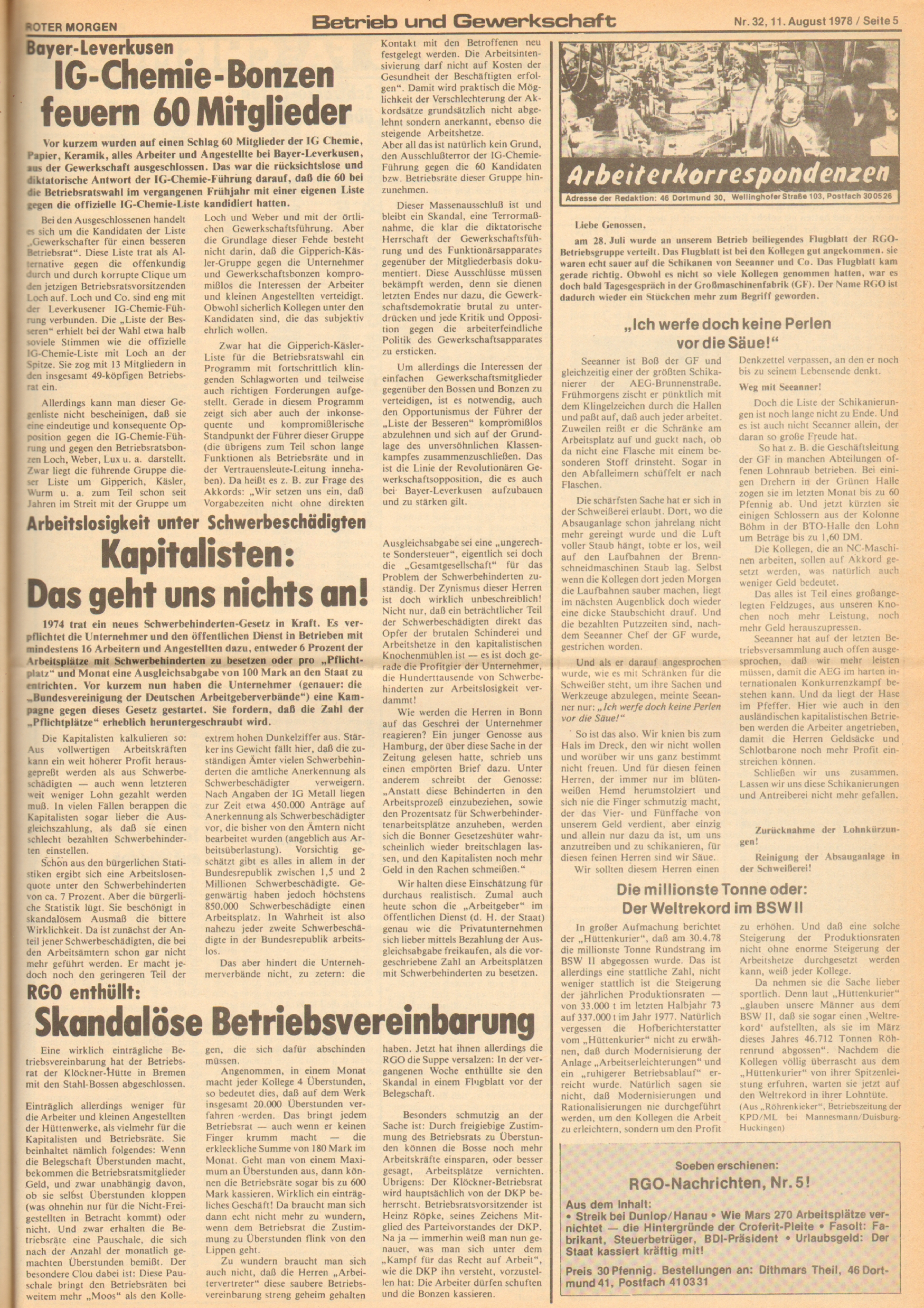 Roter Morgen, 12. Jg., 11. August 1978, Nr. 32, Seite 5